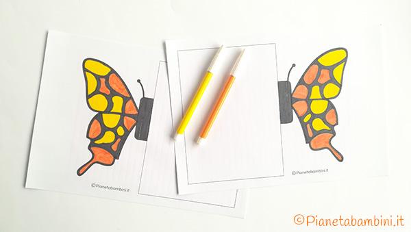Come colorare la sagoma della farfalla per il biglietto pop-up