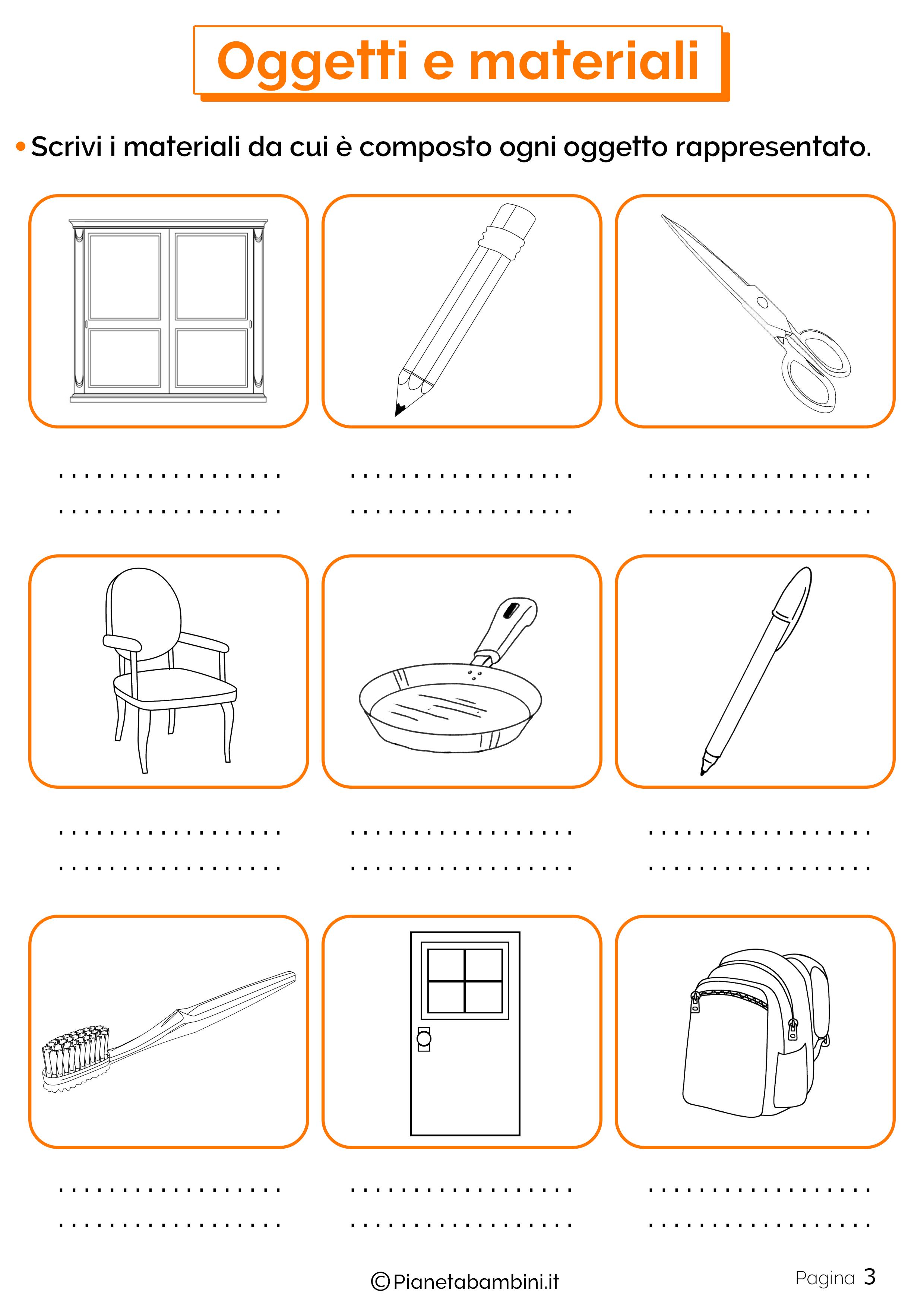 Esercizi su oggetti e materiali 3