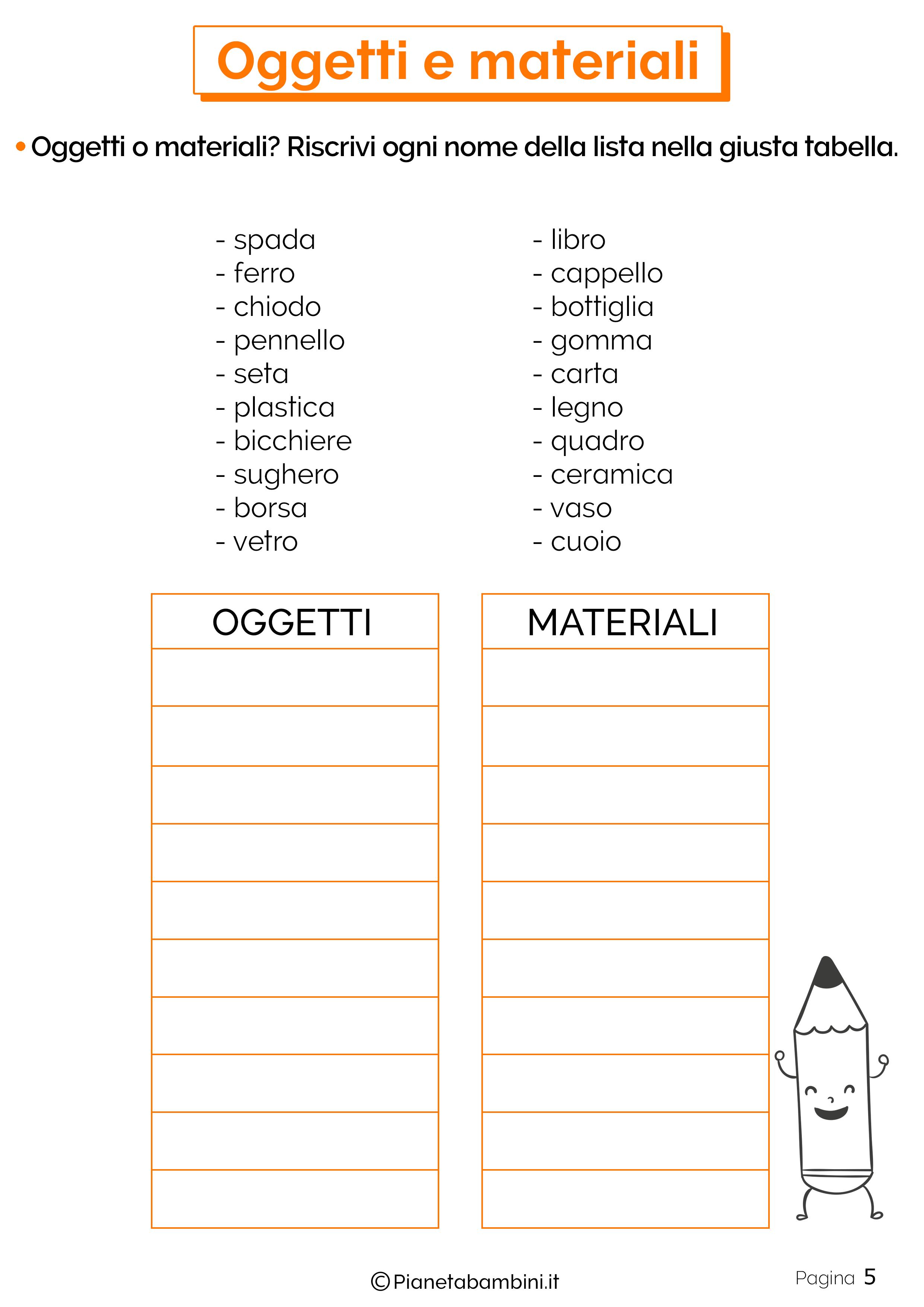 Esercizi su oggetti e materiali 5