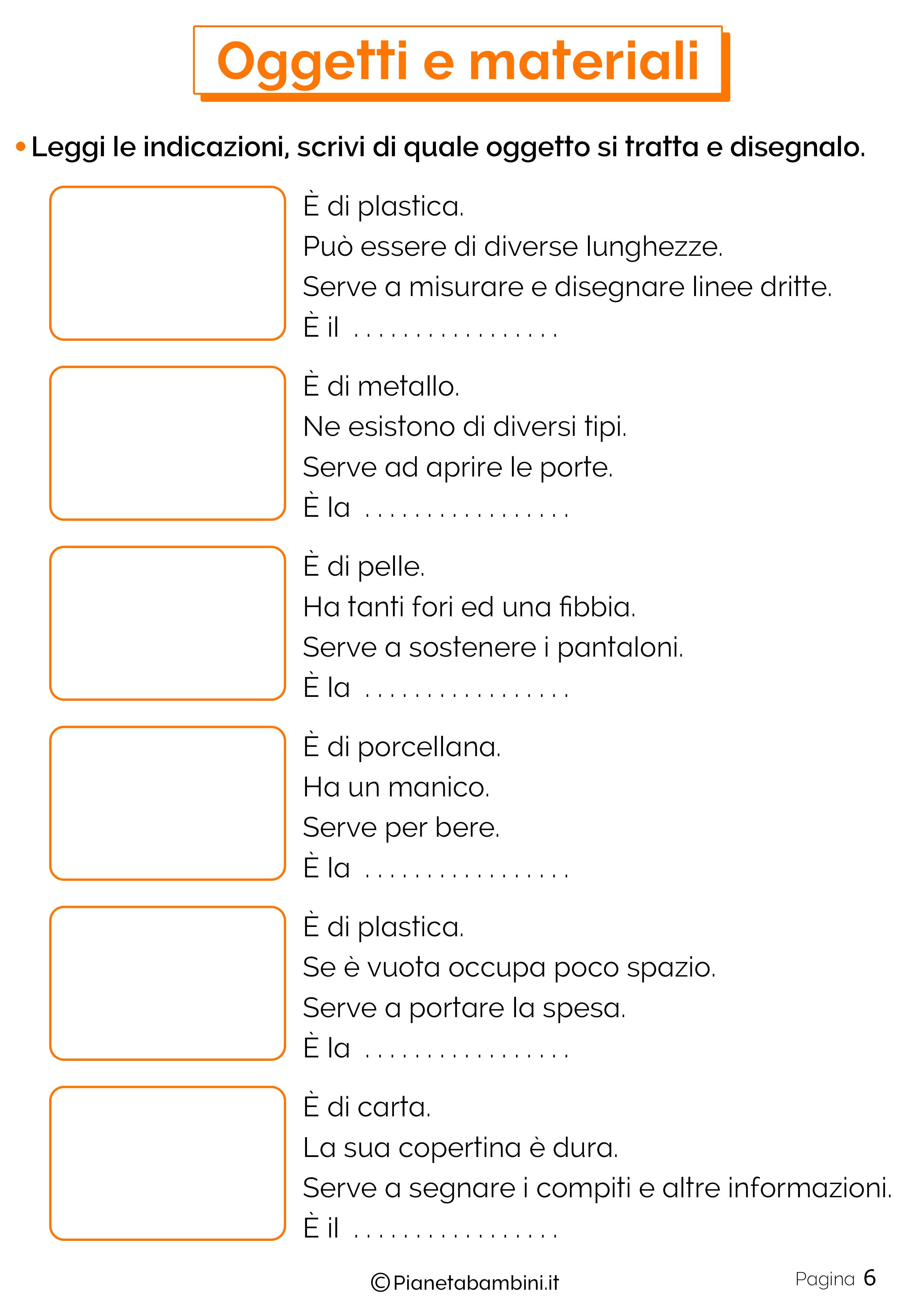 Esercizi su oggetti e materiali 6