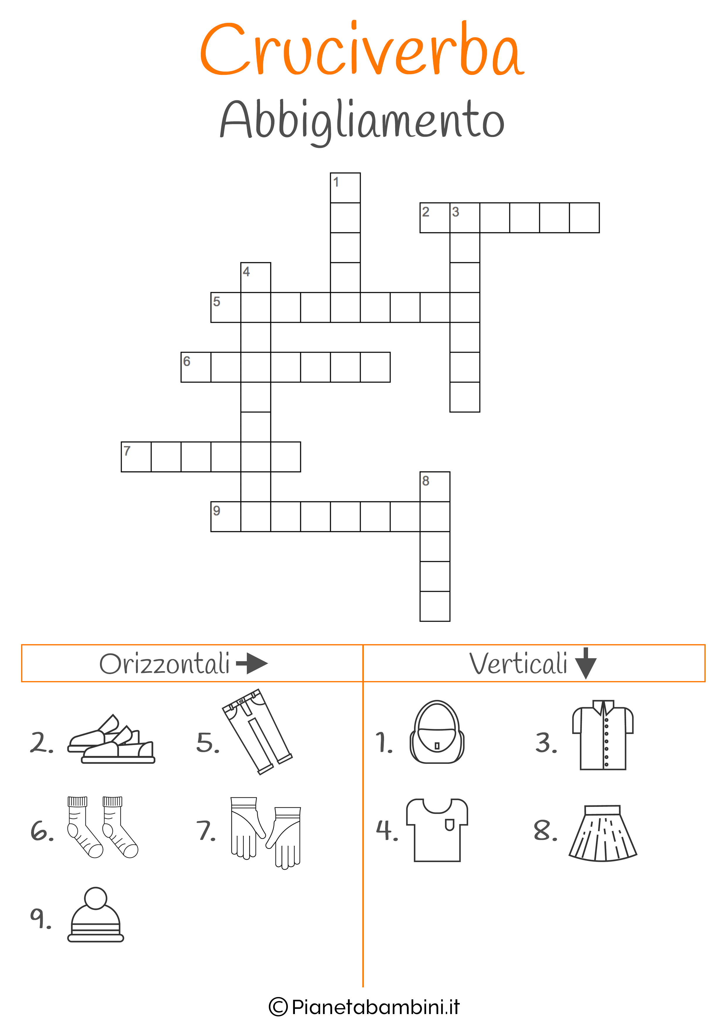 Cruciverba illustrato sull'abbigliamento