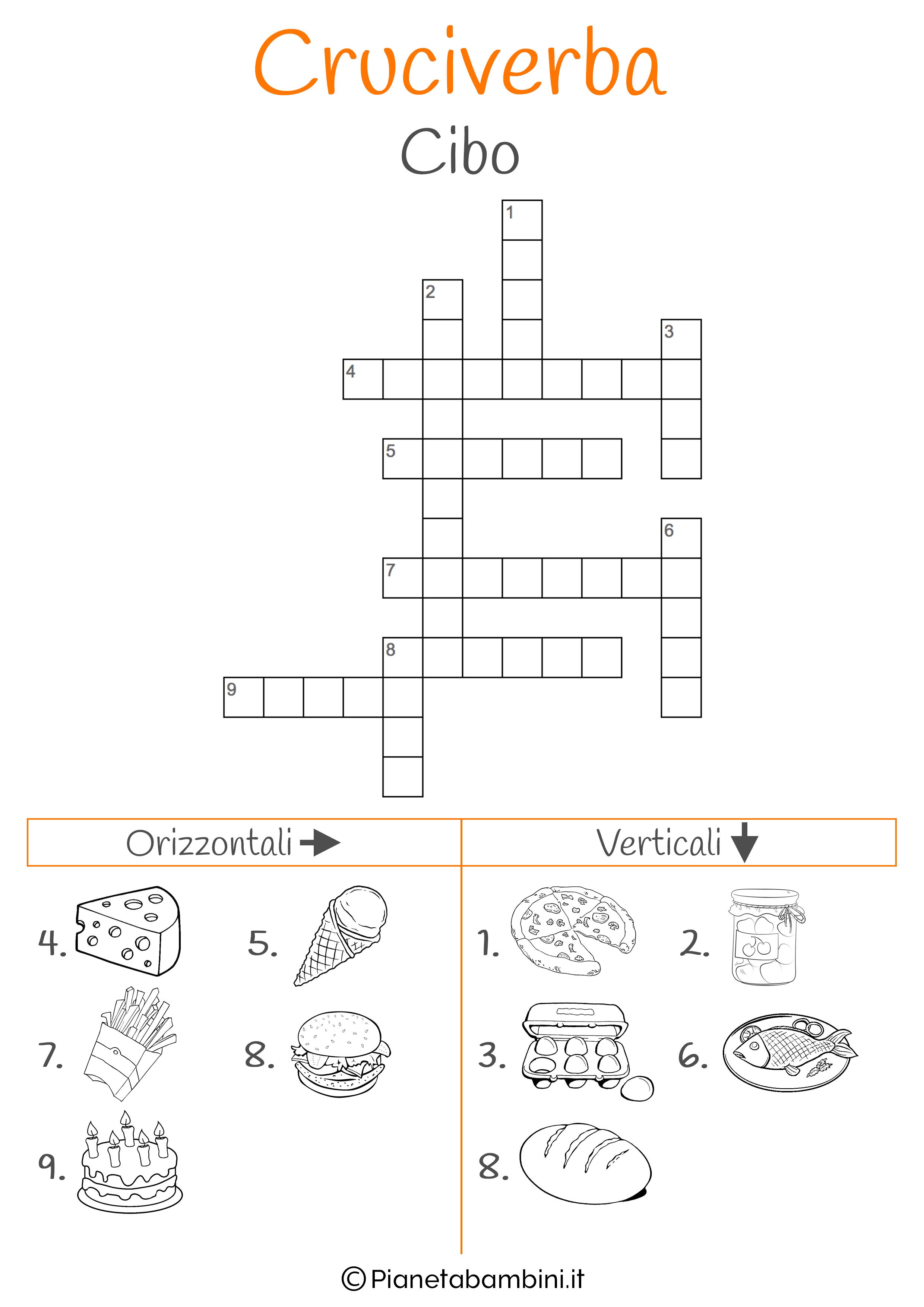 Cruciverba illustrato sul cibo