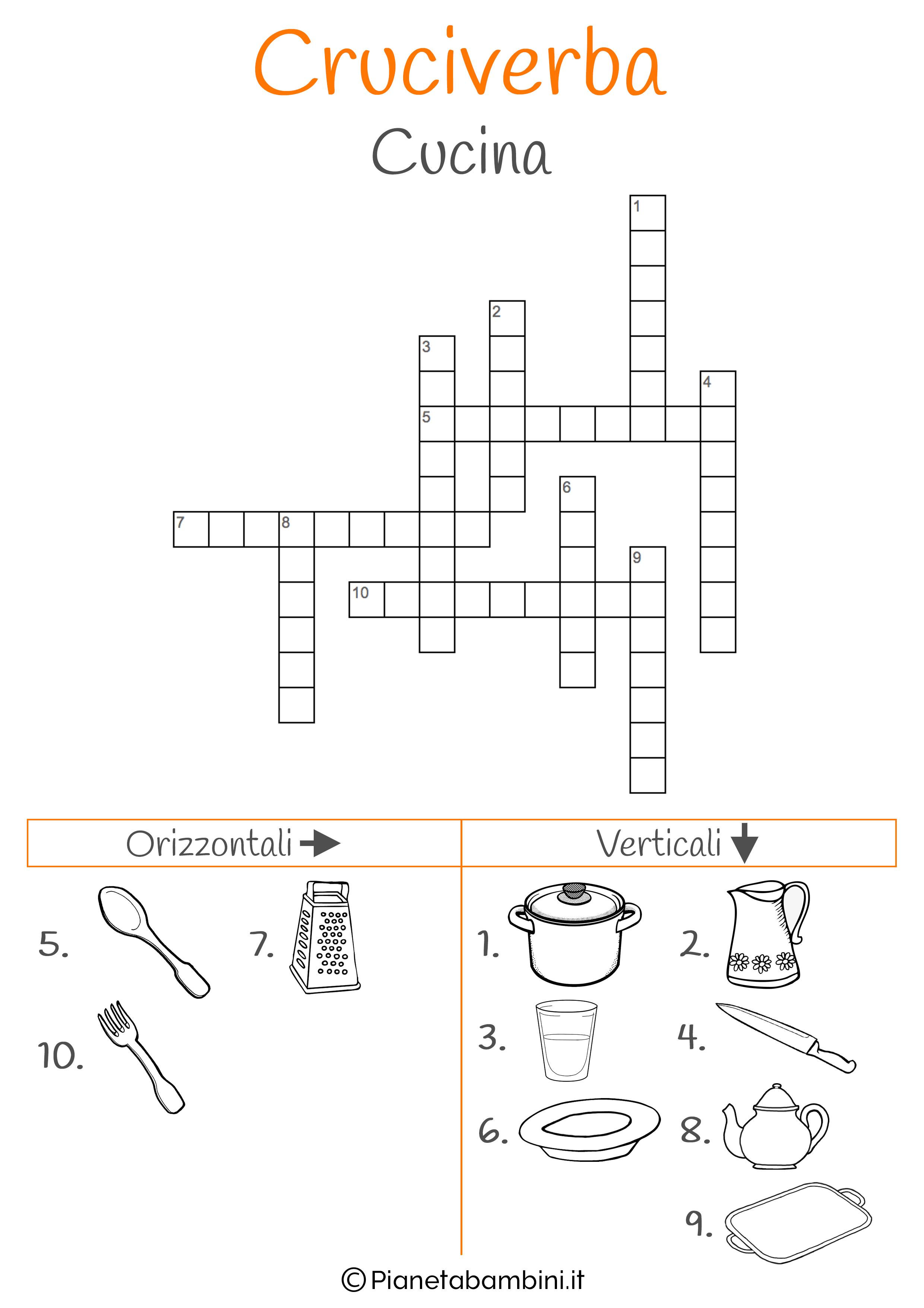 Cruciverba illustrato sulla cucina