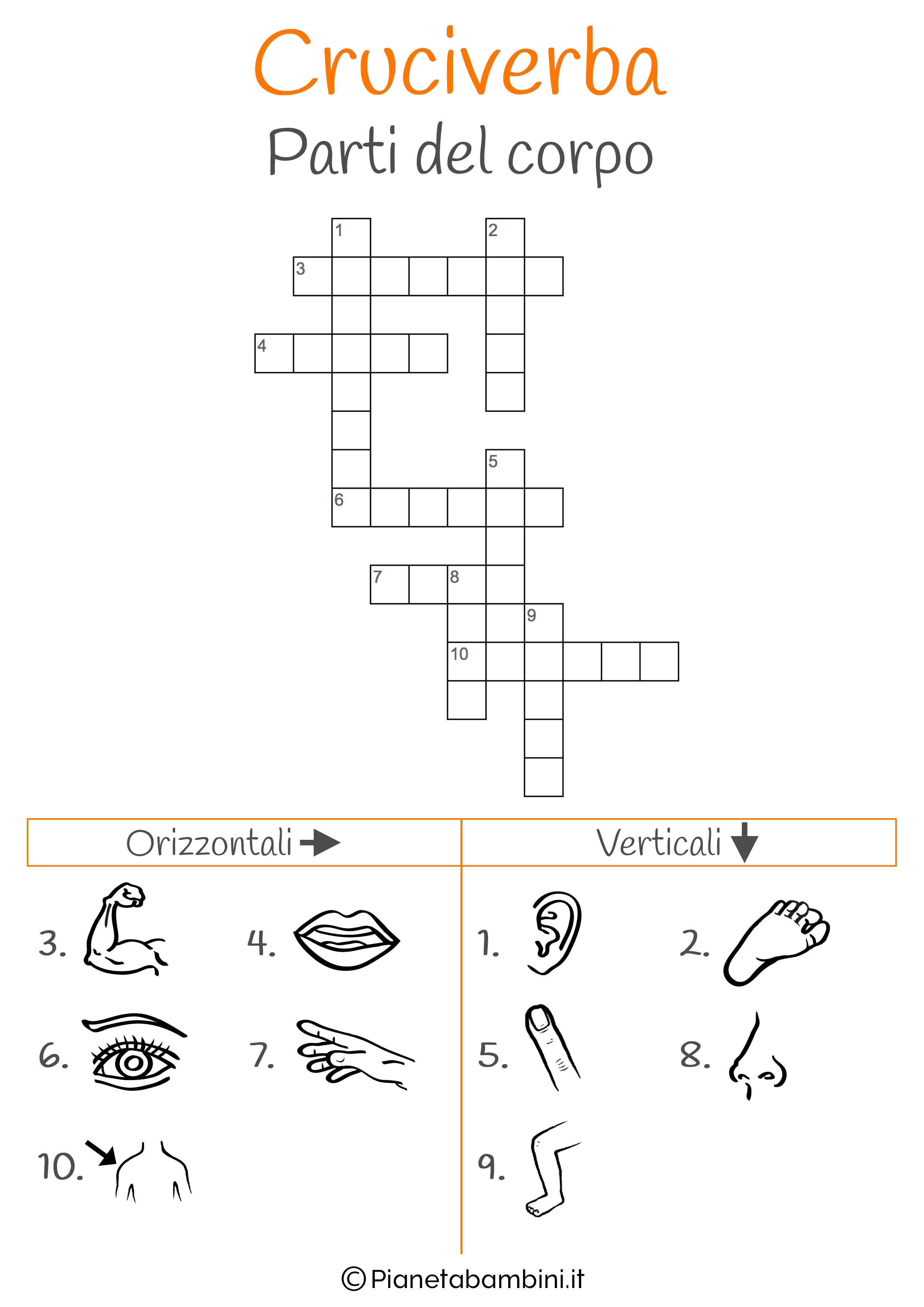 Cruciverba illustrato sulle parti del corpo