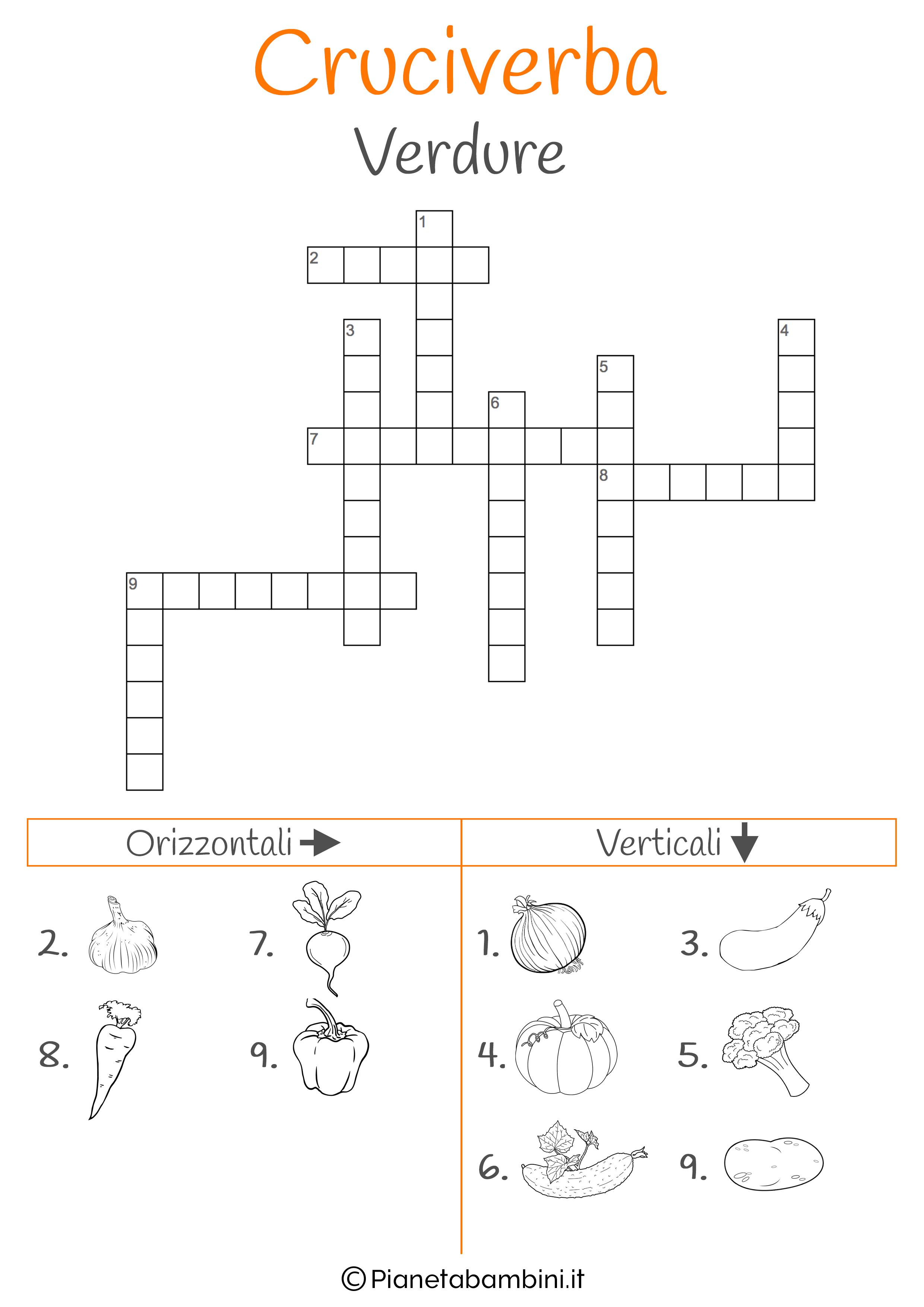 Cruciverba illustrato sulle verdure
