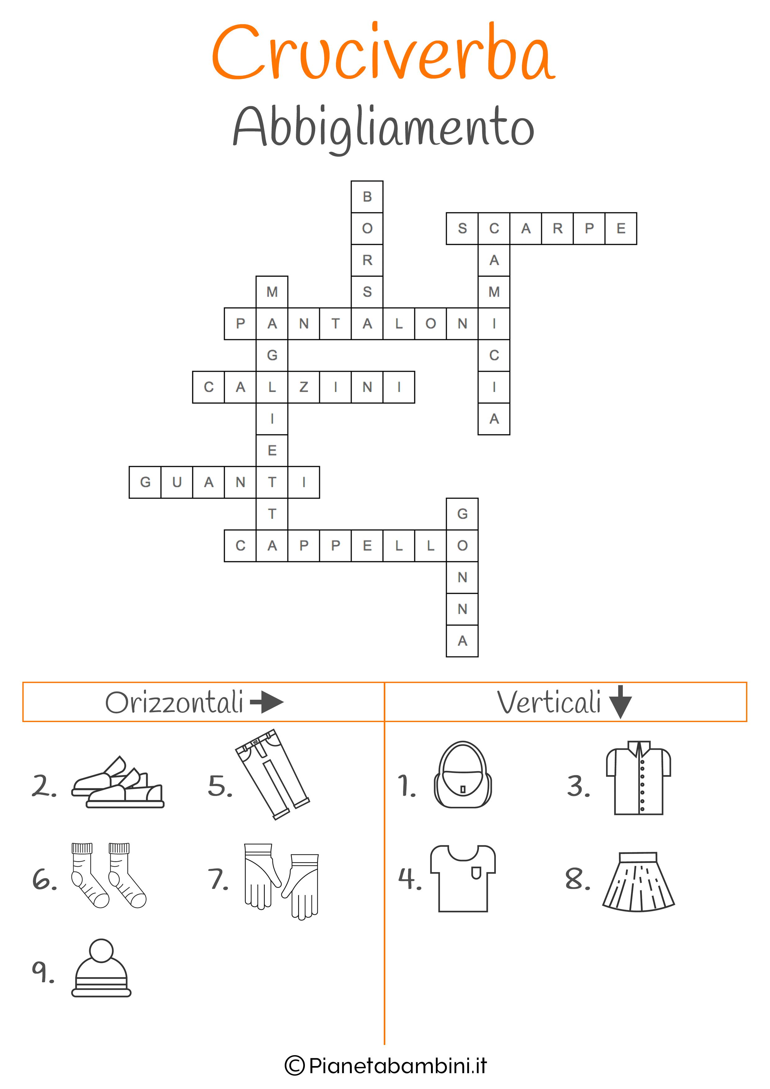 Soluzione cruciverba illustrato sull'abbigliamento