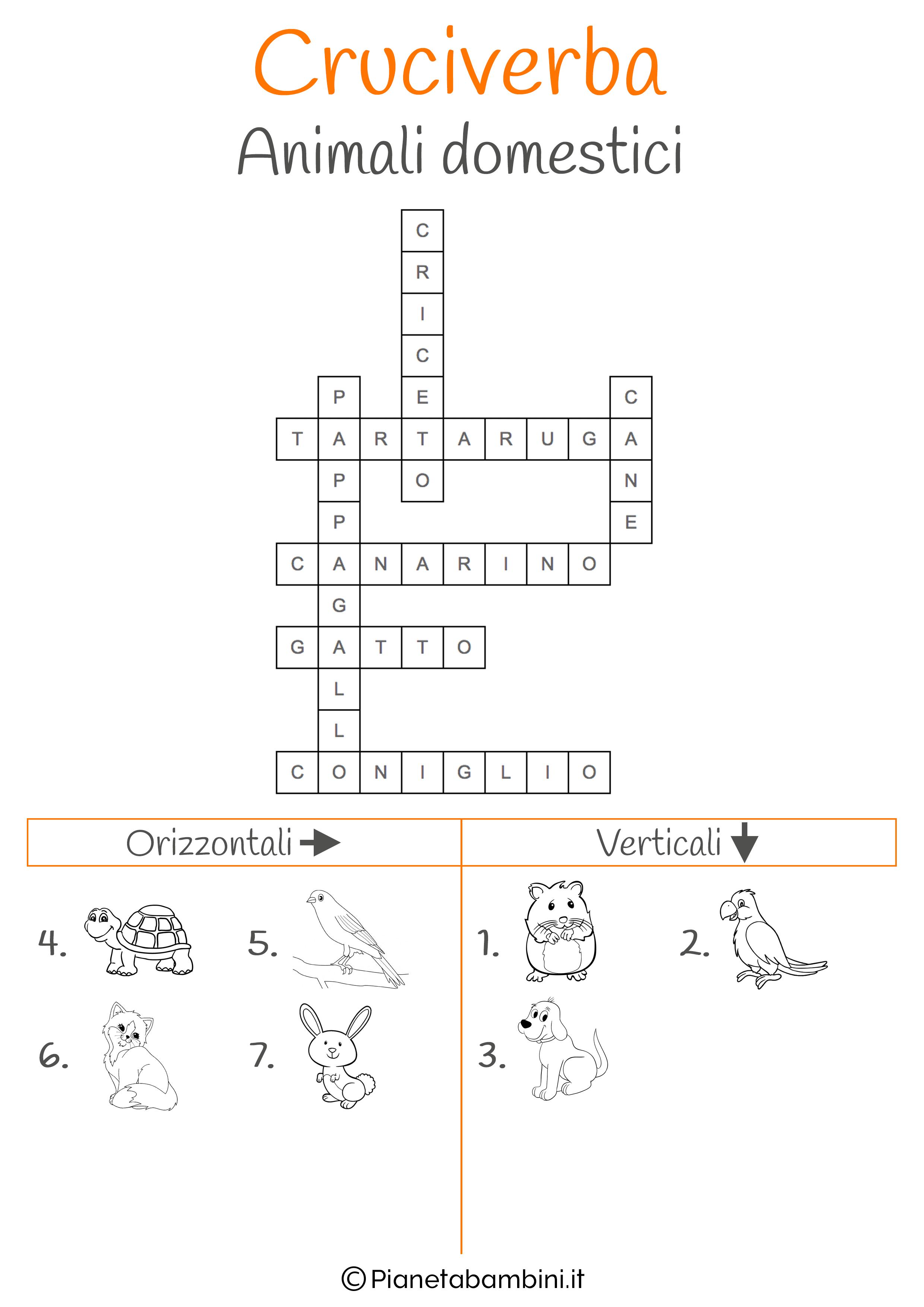 Soluzione cruciverba illustrato sugli animali domestici
