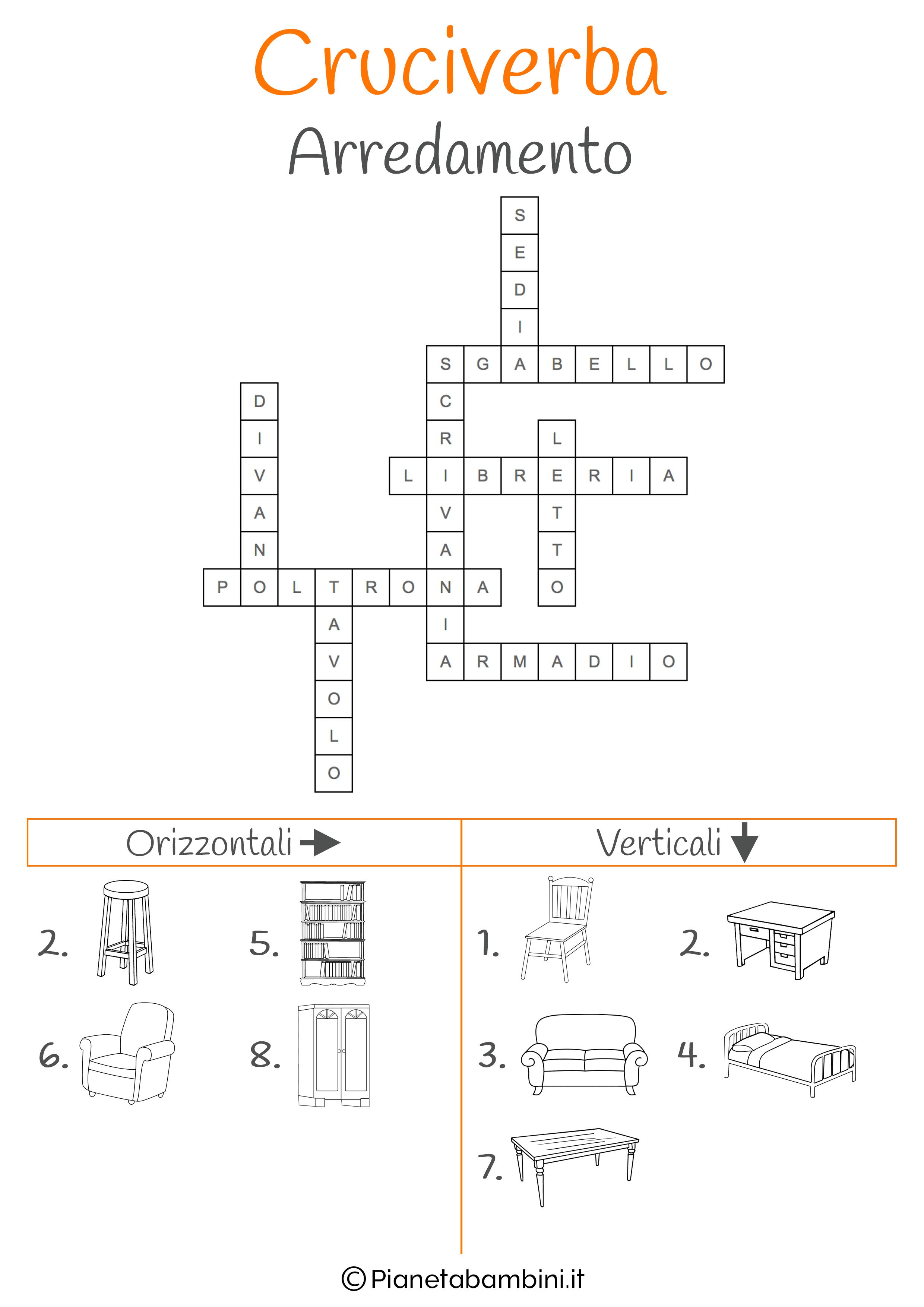 Soluzione cruciverba illustrato sull'arredamento