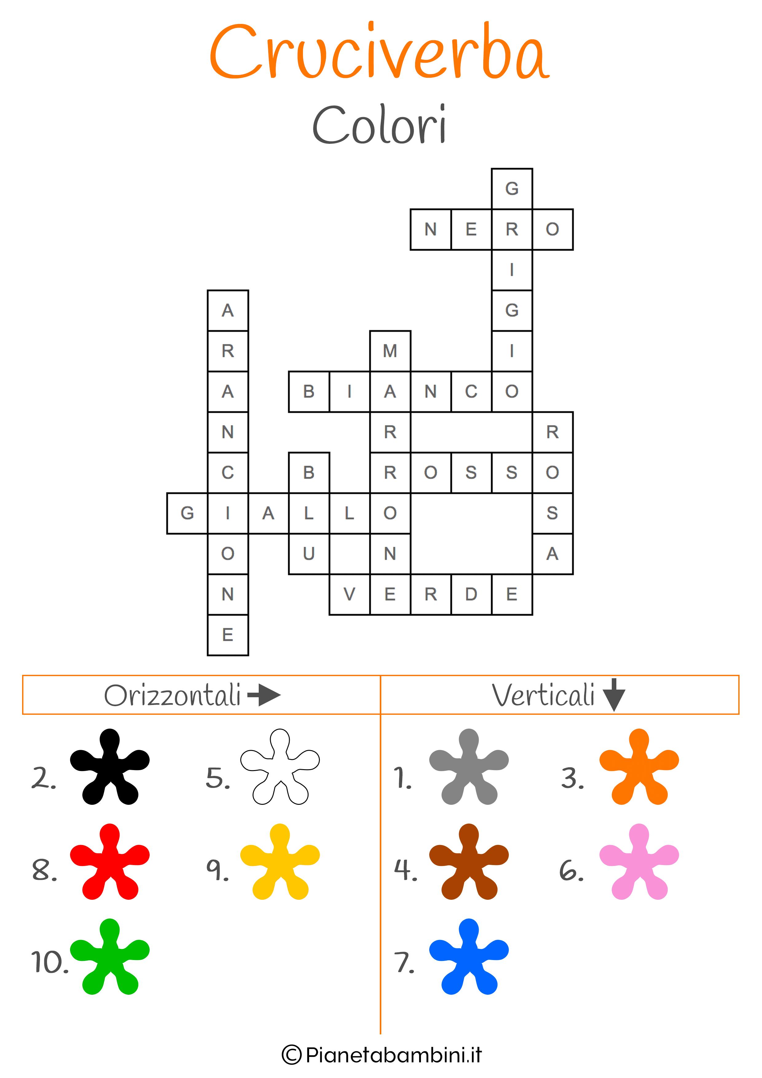 Soluzione cruciverba illustrato sui colori