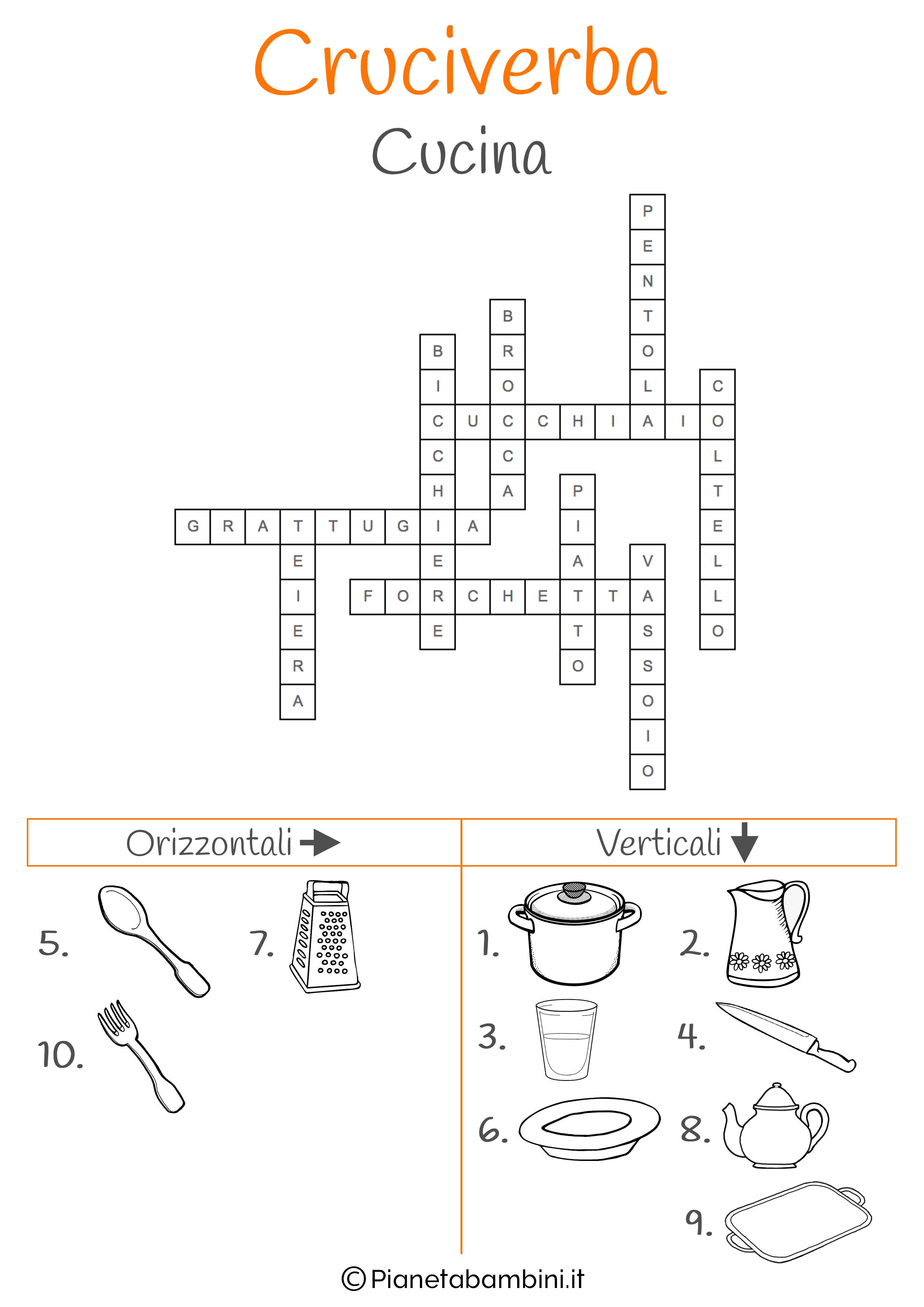 Soluzione cruciverba illustrato sulla cucina