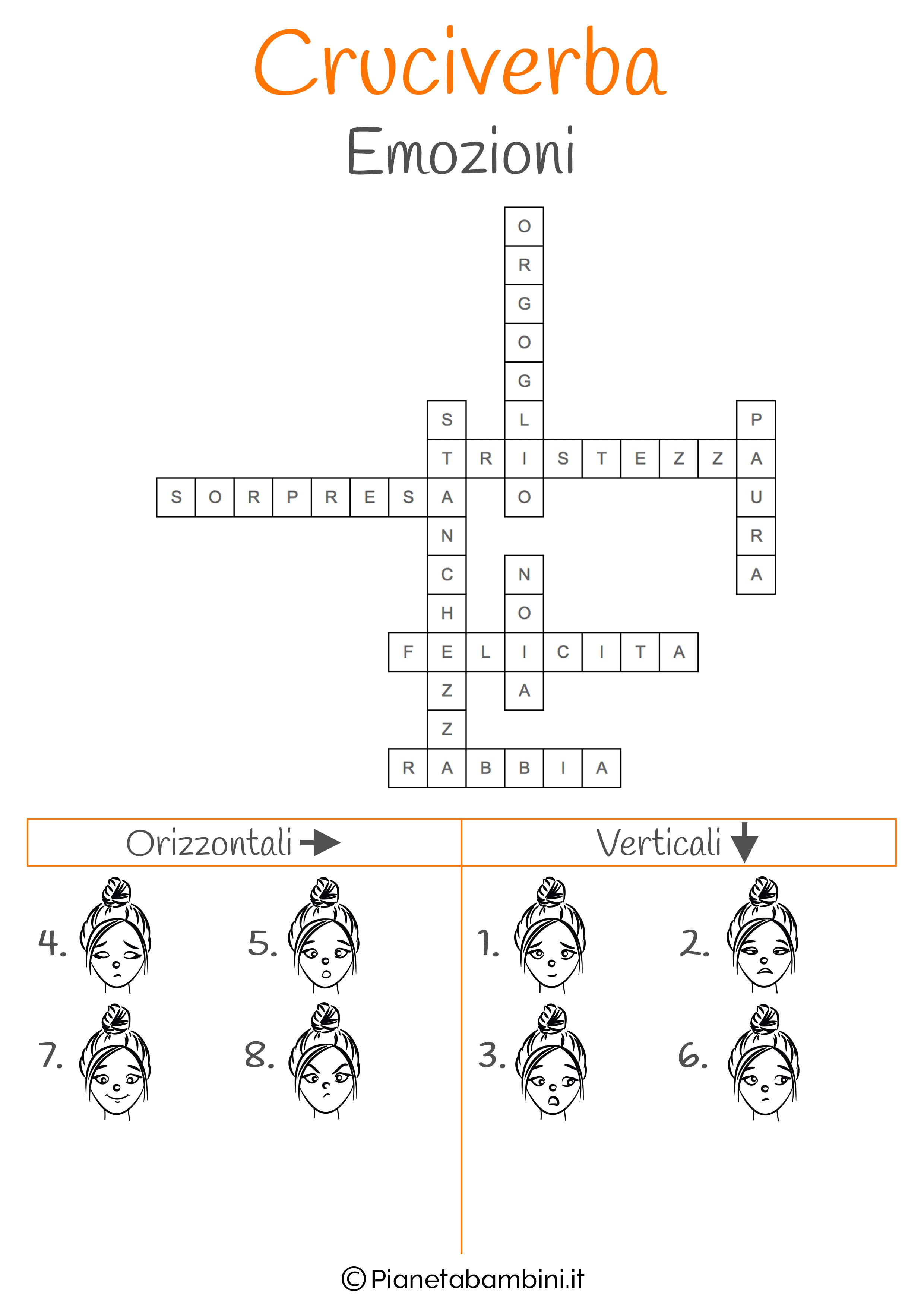 Soluzione cruciverba illustrato sulle emozioni