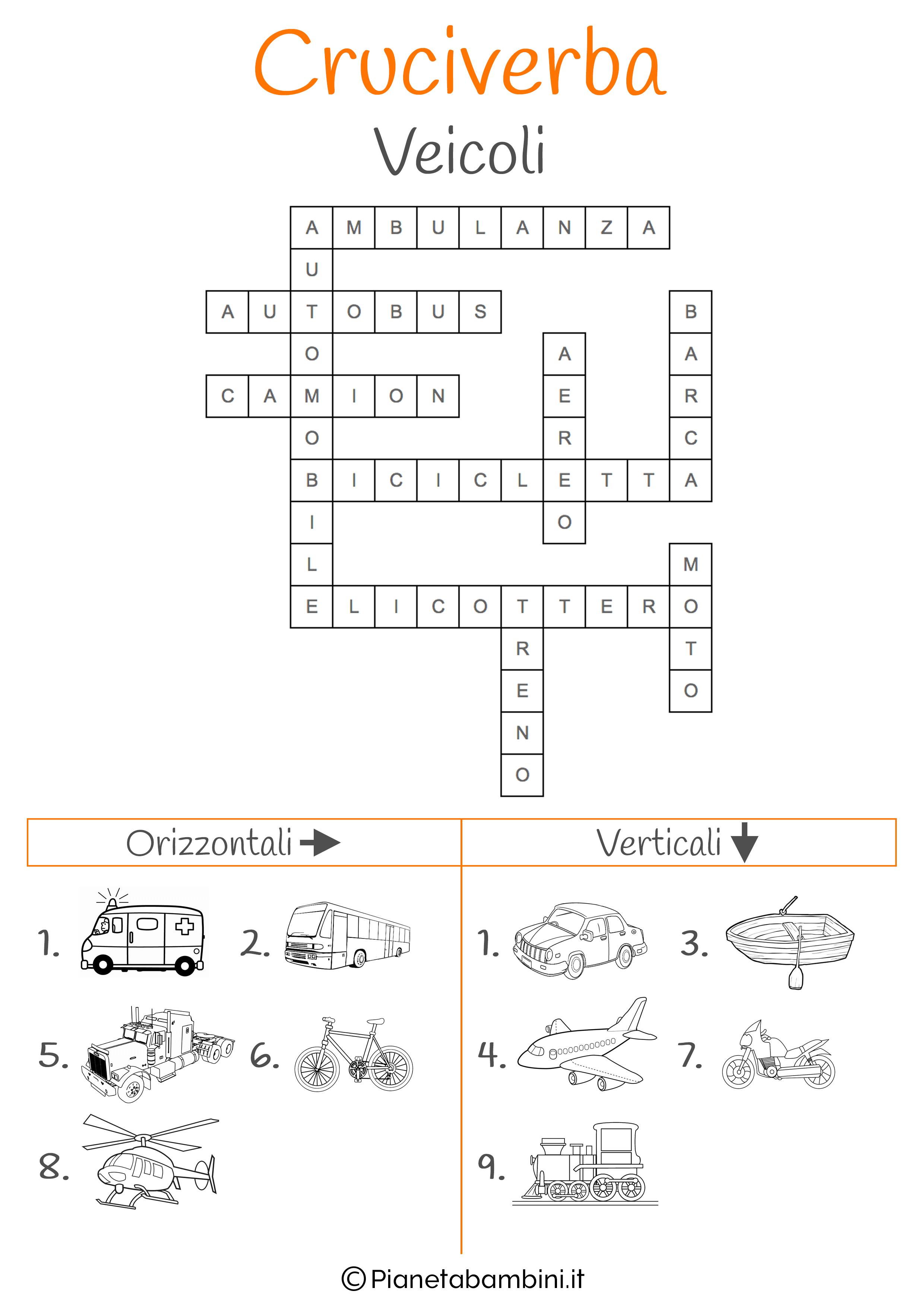 Soluzione cruciverba illustrato sui veicoli