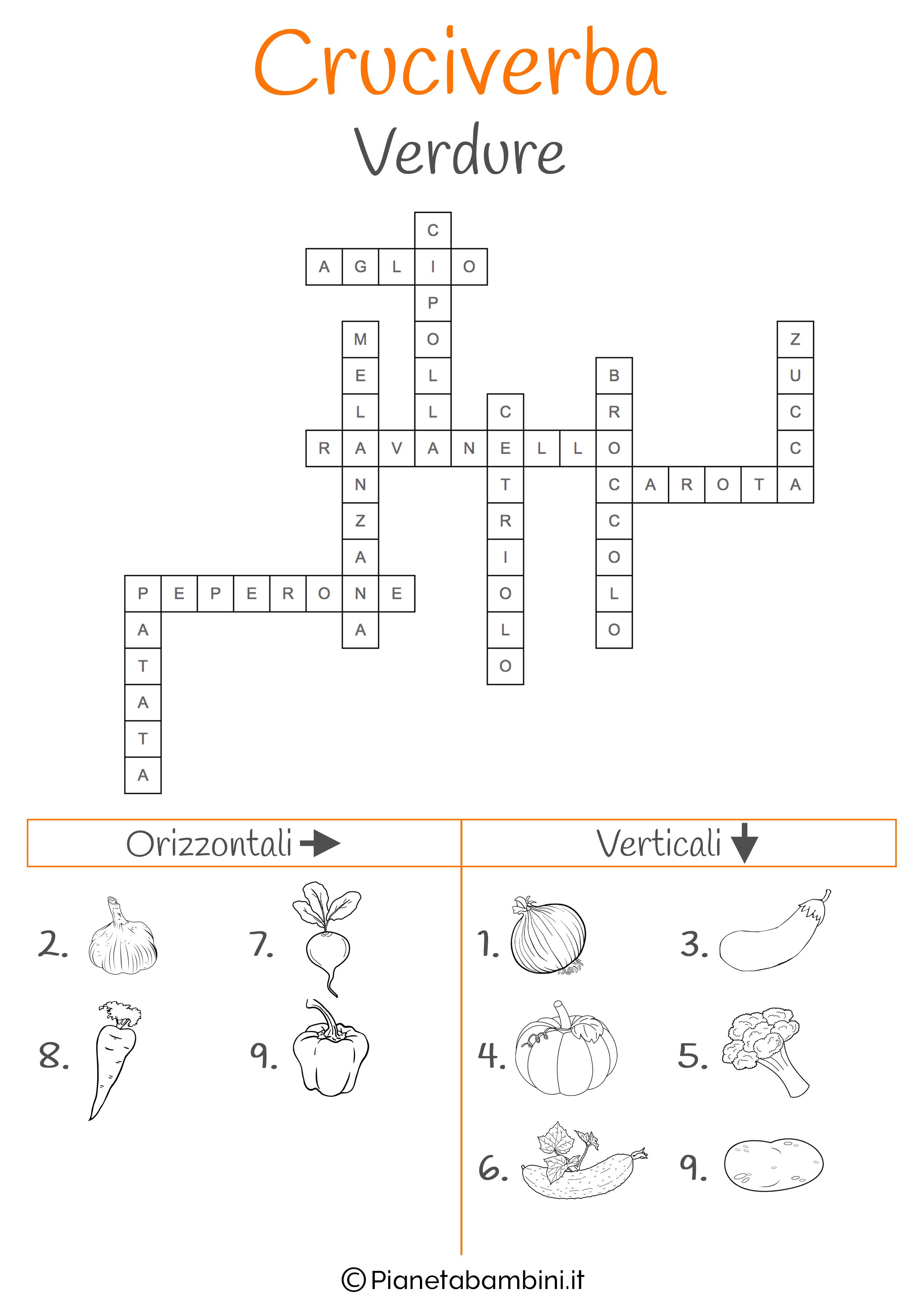 Soluzione cruciverba illustrato sulle verdure
