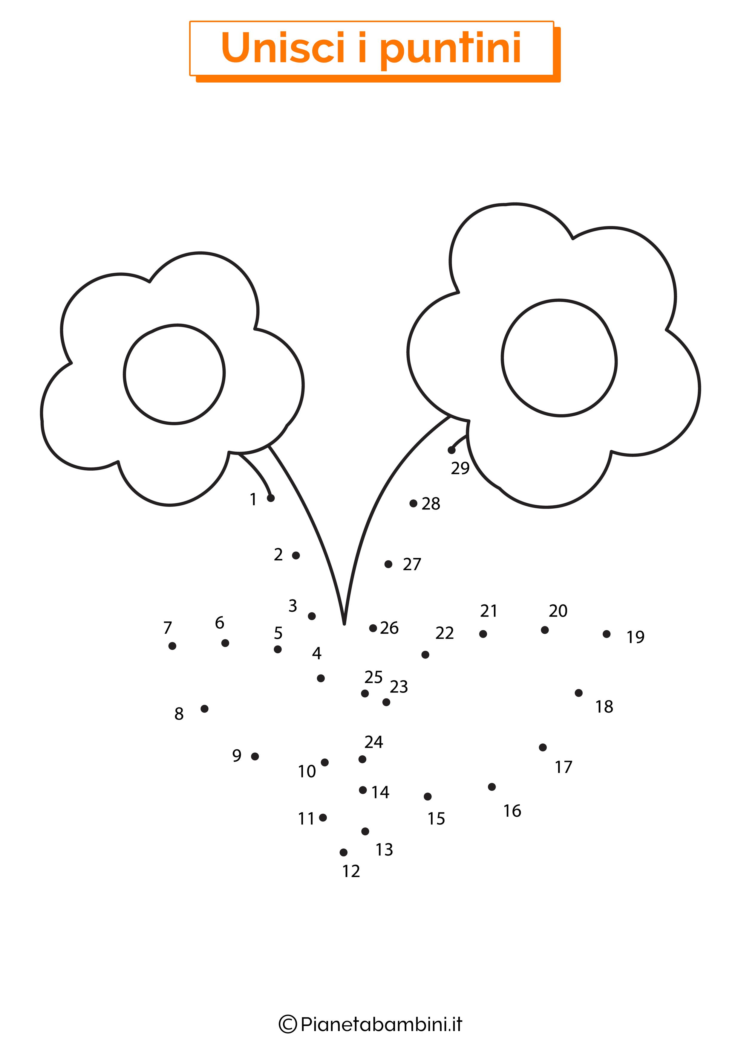 Disegno unisci i puntini fiori
