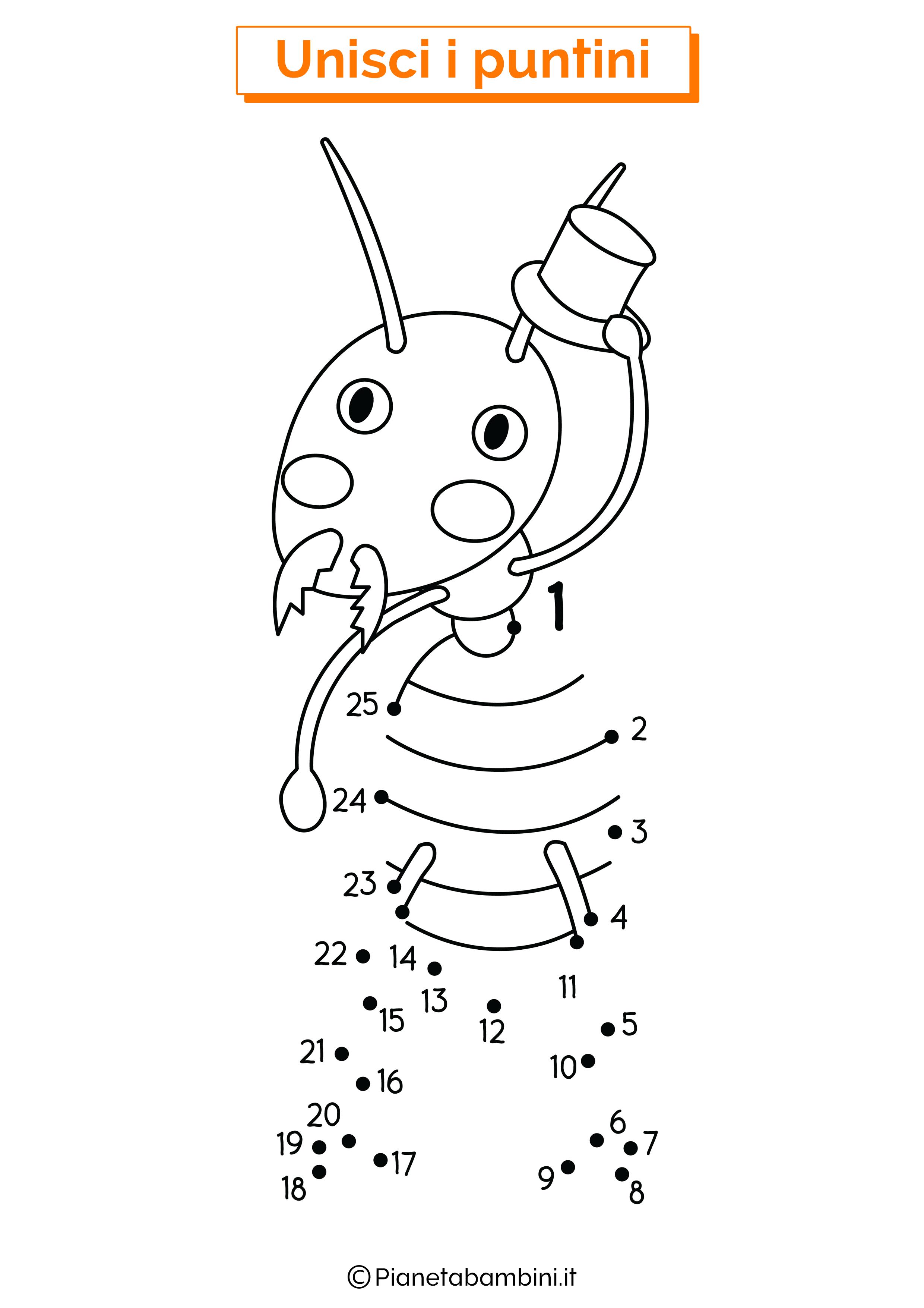 Disegno unisci i puntini formica
