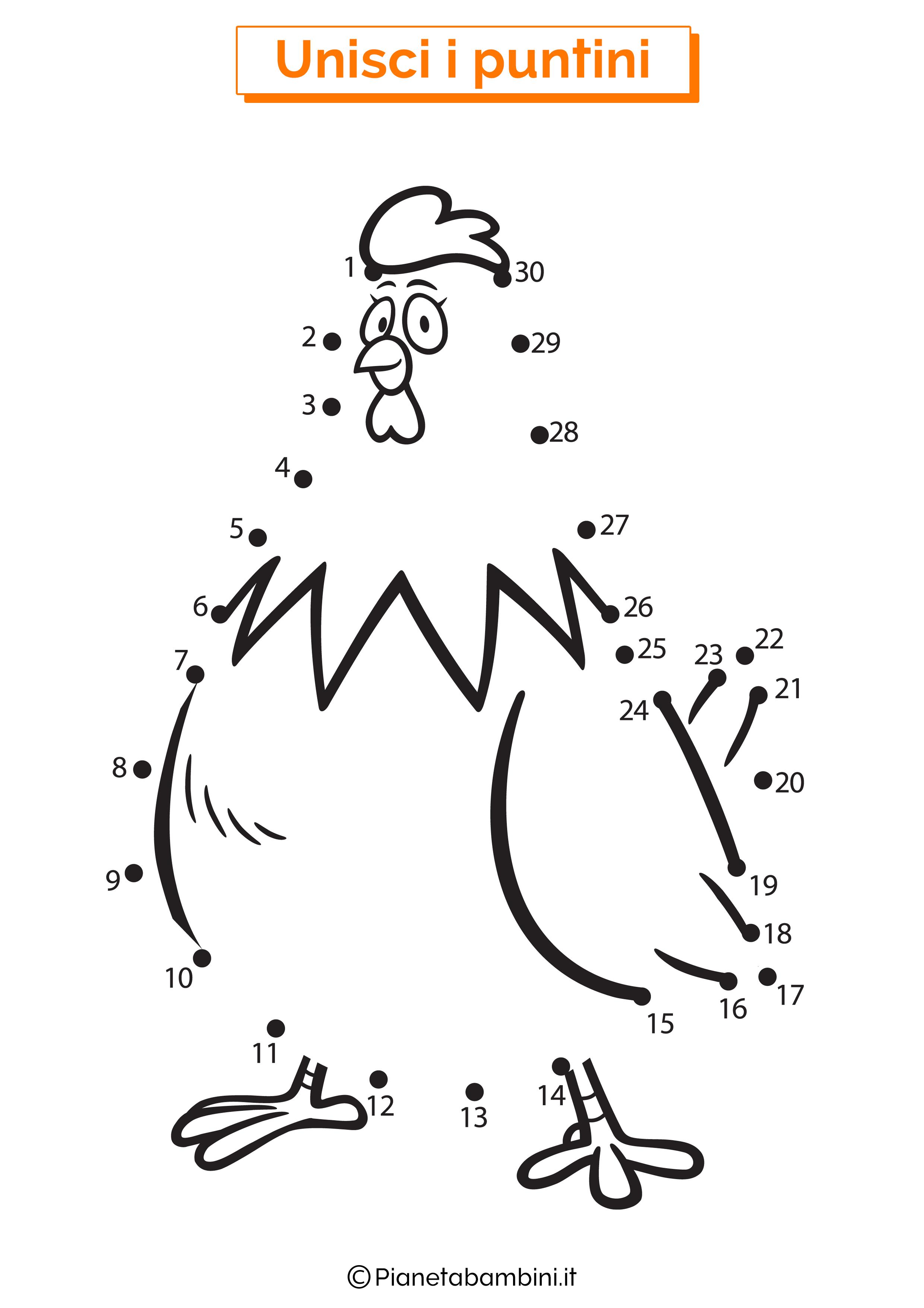 Disegno unisci i puntini gallina