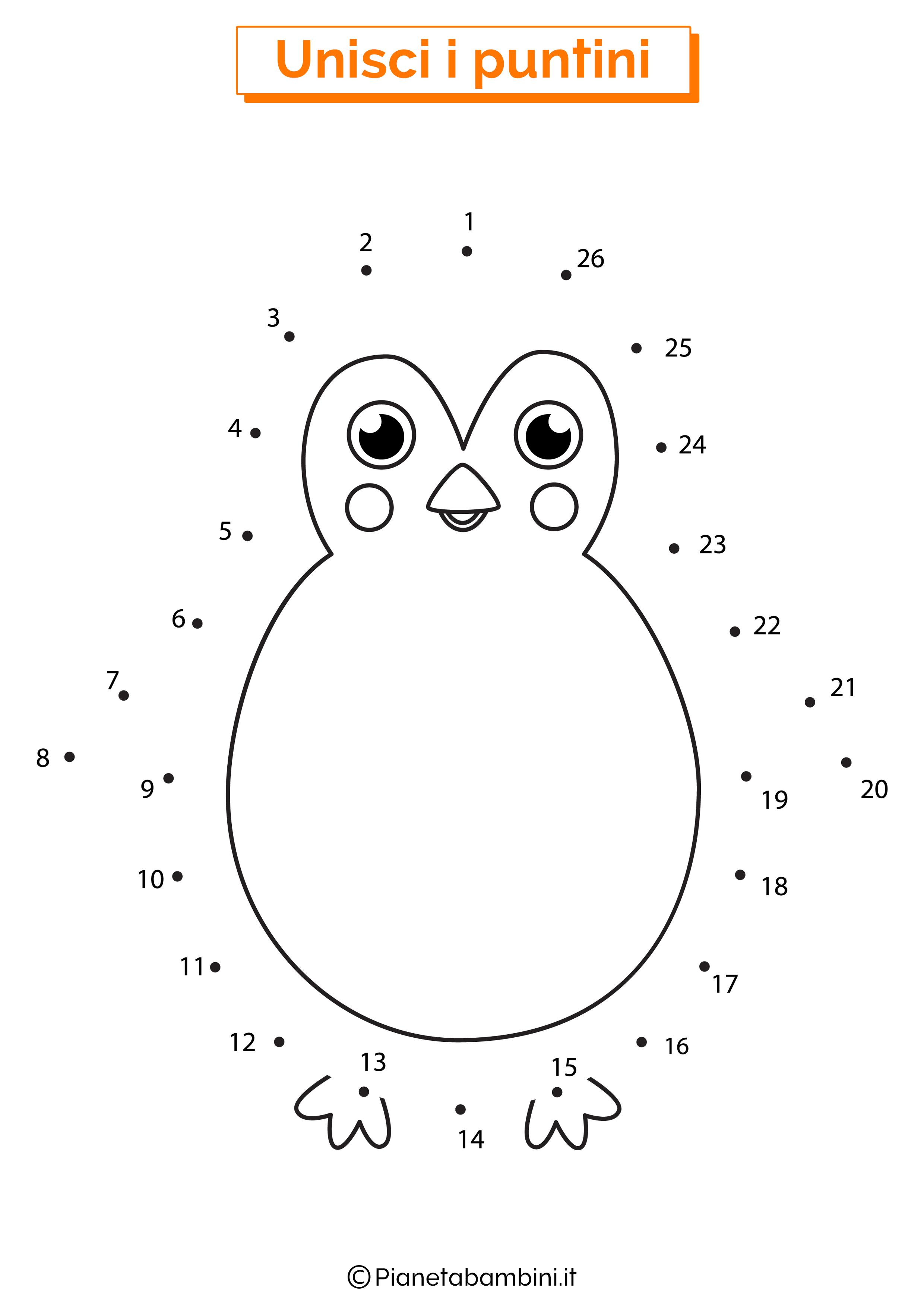 Disegno unisci i puntini pinguino