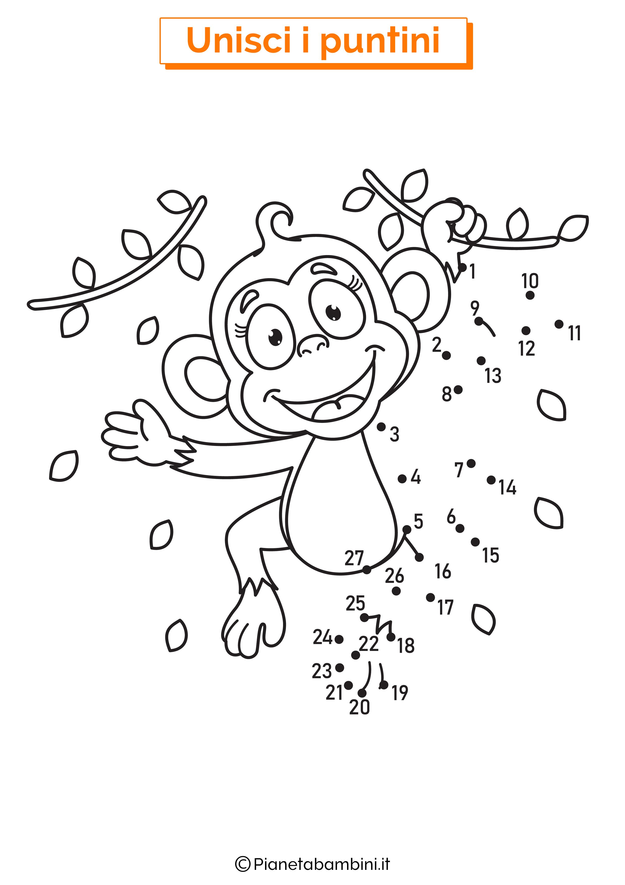 Disegno unisci i puntini scimmia