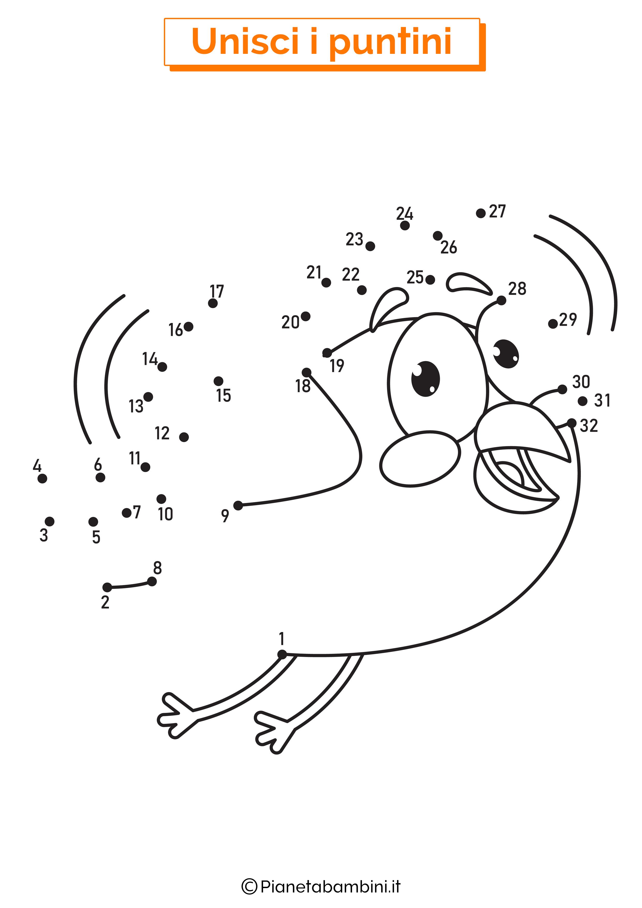Disegno unisci i puntini uccello