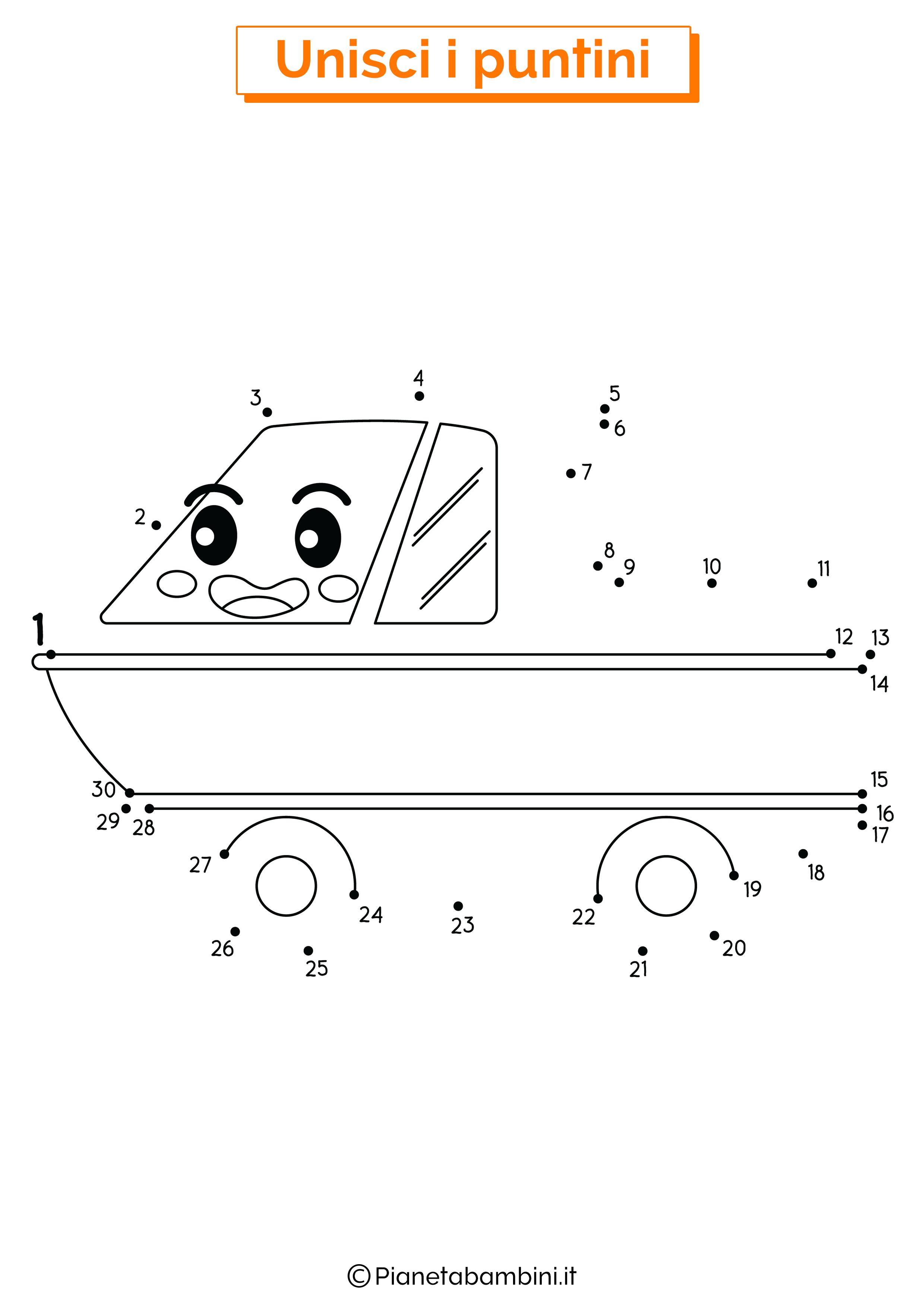 Disegno unisci i puntini veicolo anfibio