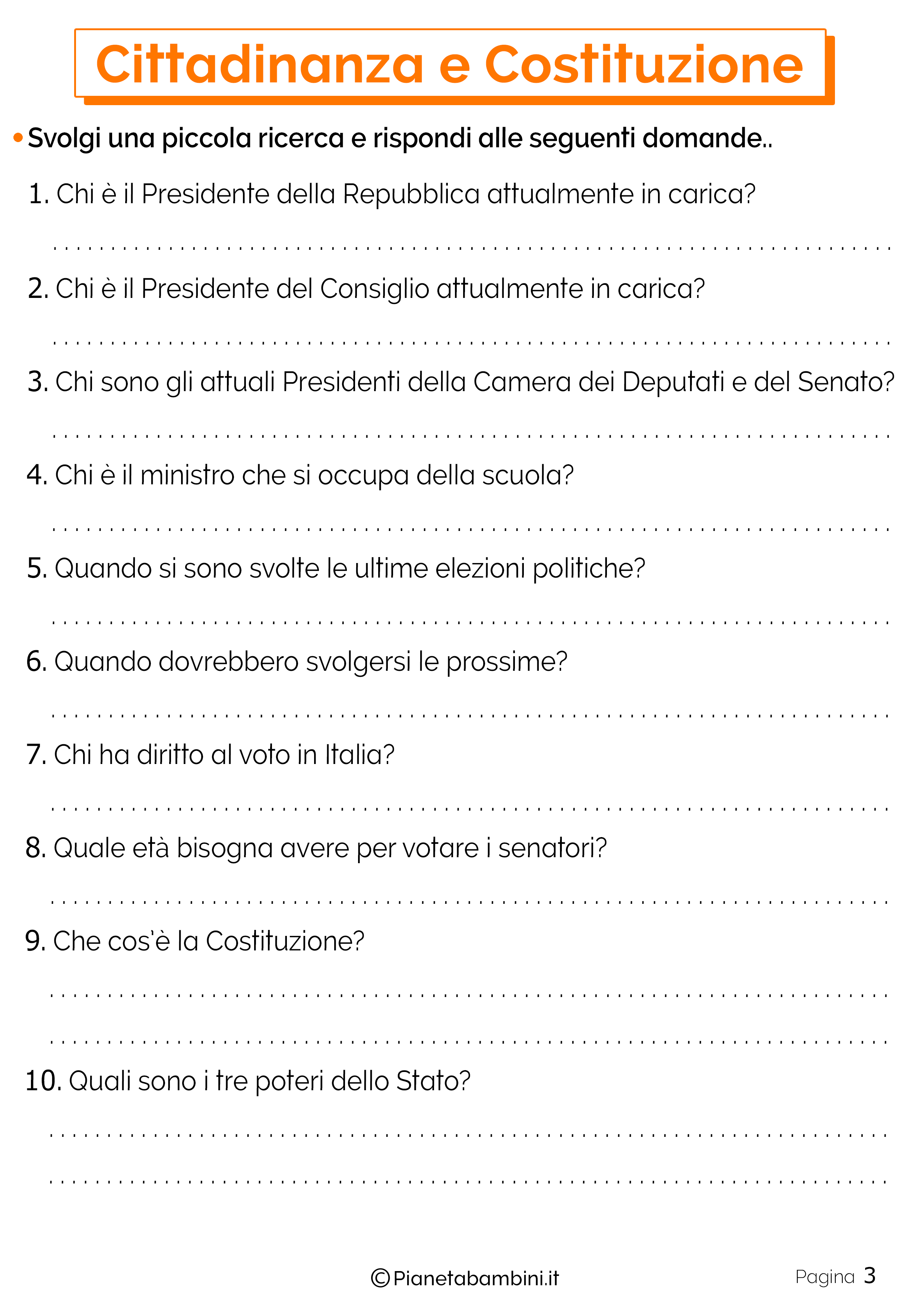 Esercizi su Cittadinanza e Costituzione 3