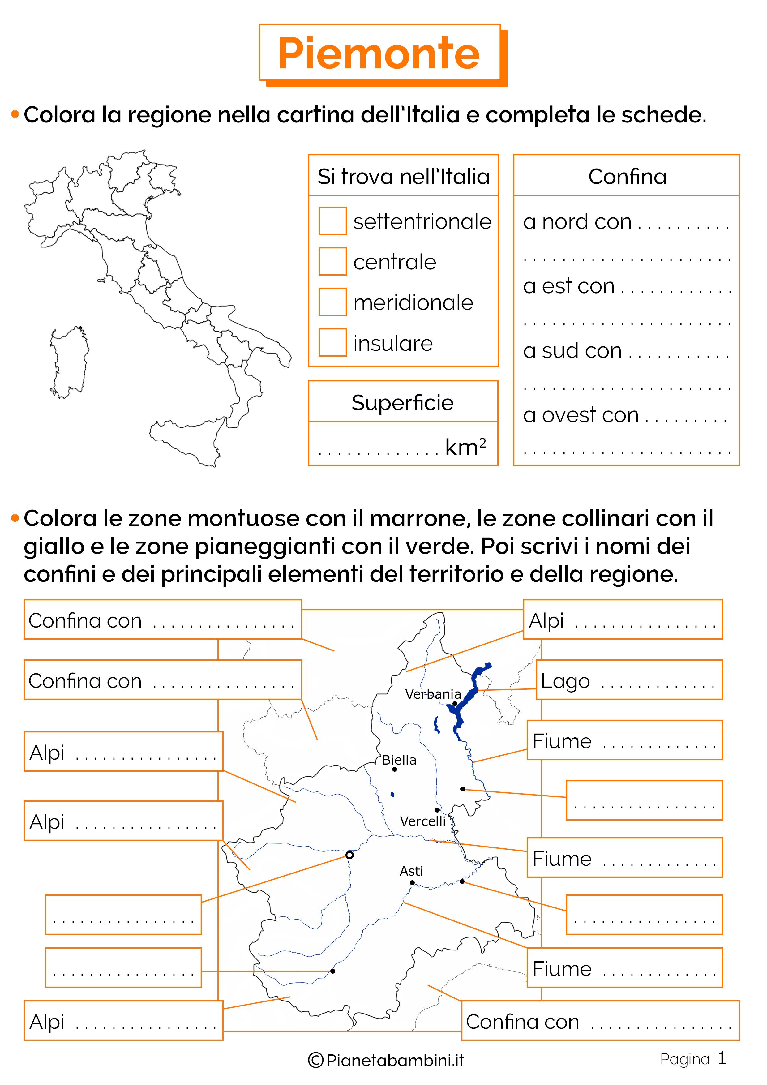 Esercizi sul Piemonte 1