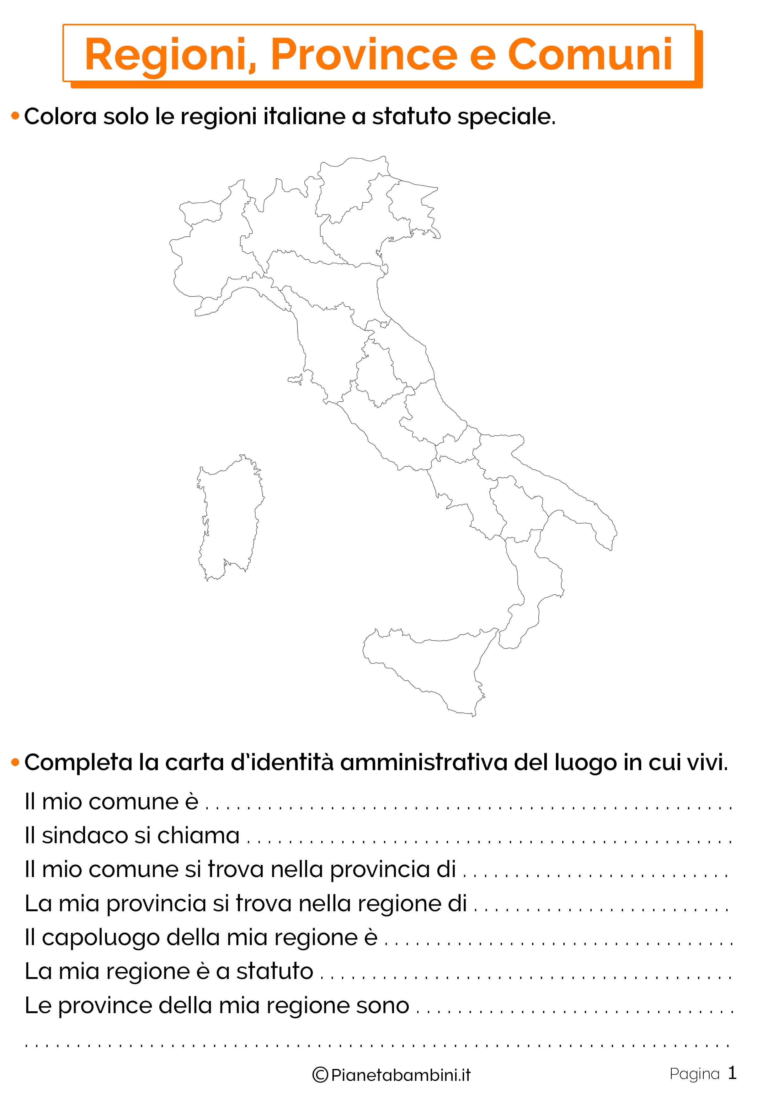 Esercizi su Regioni Province e Comuni 1