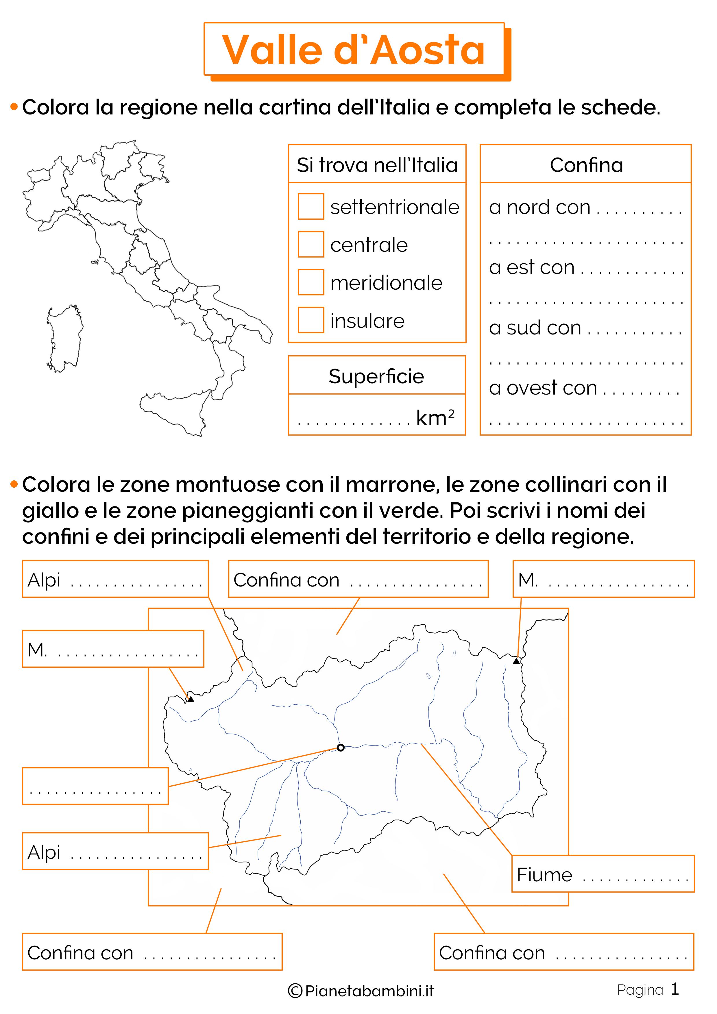 Cartina Valle D Aosta Da Colorare.Valle D Aosta Schede Didattiche Per La Scuola Primaria Pianetabambini It