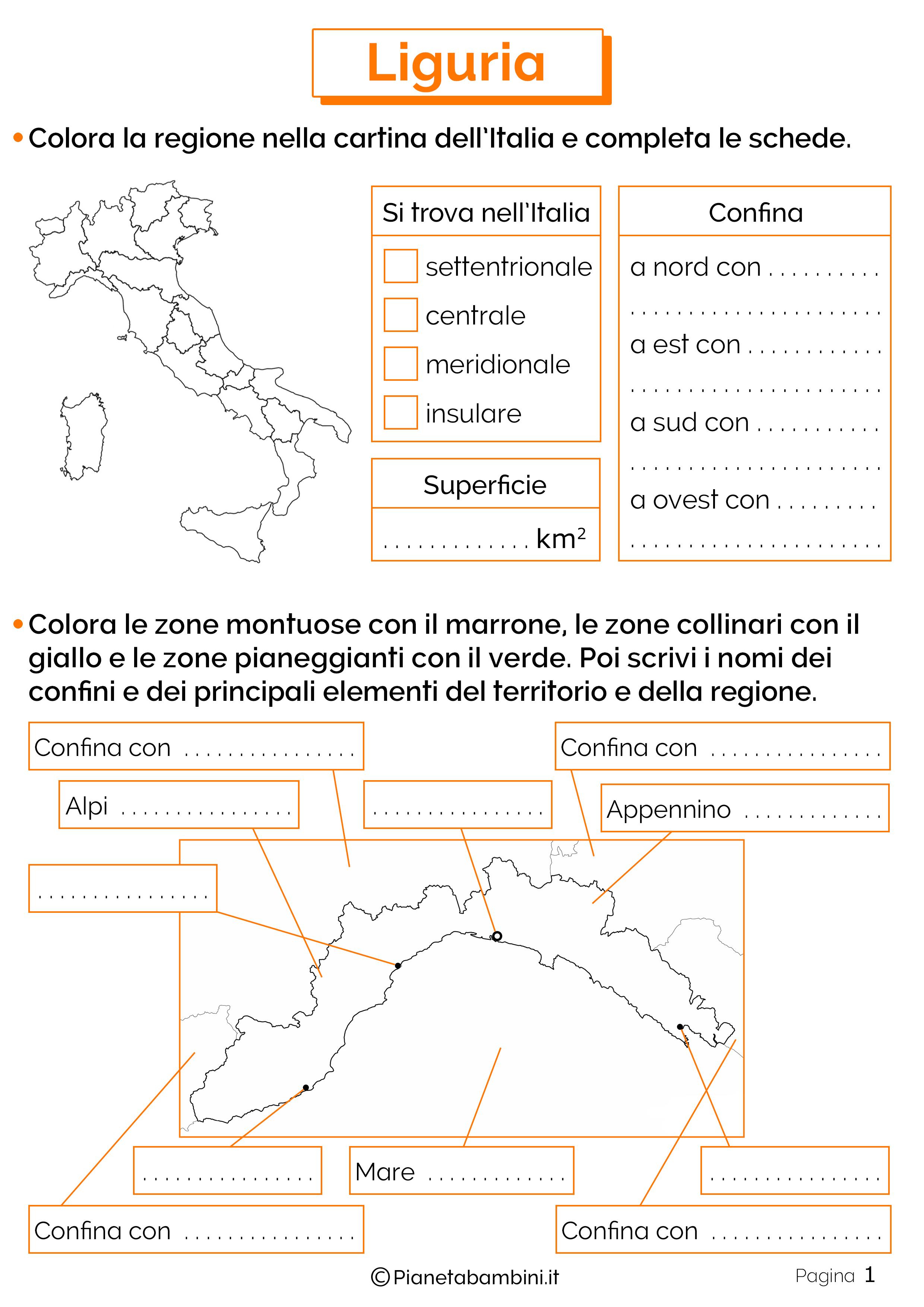 Esercizi sulla Liguria 1