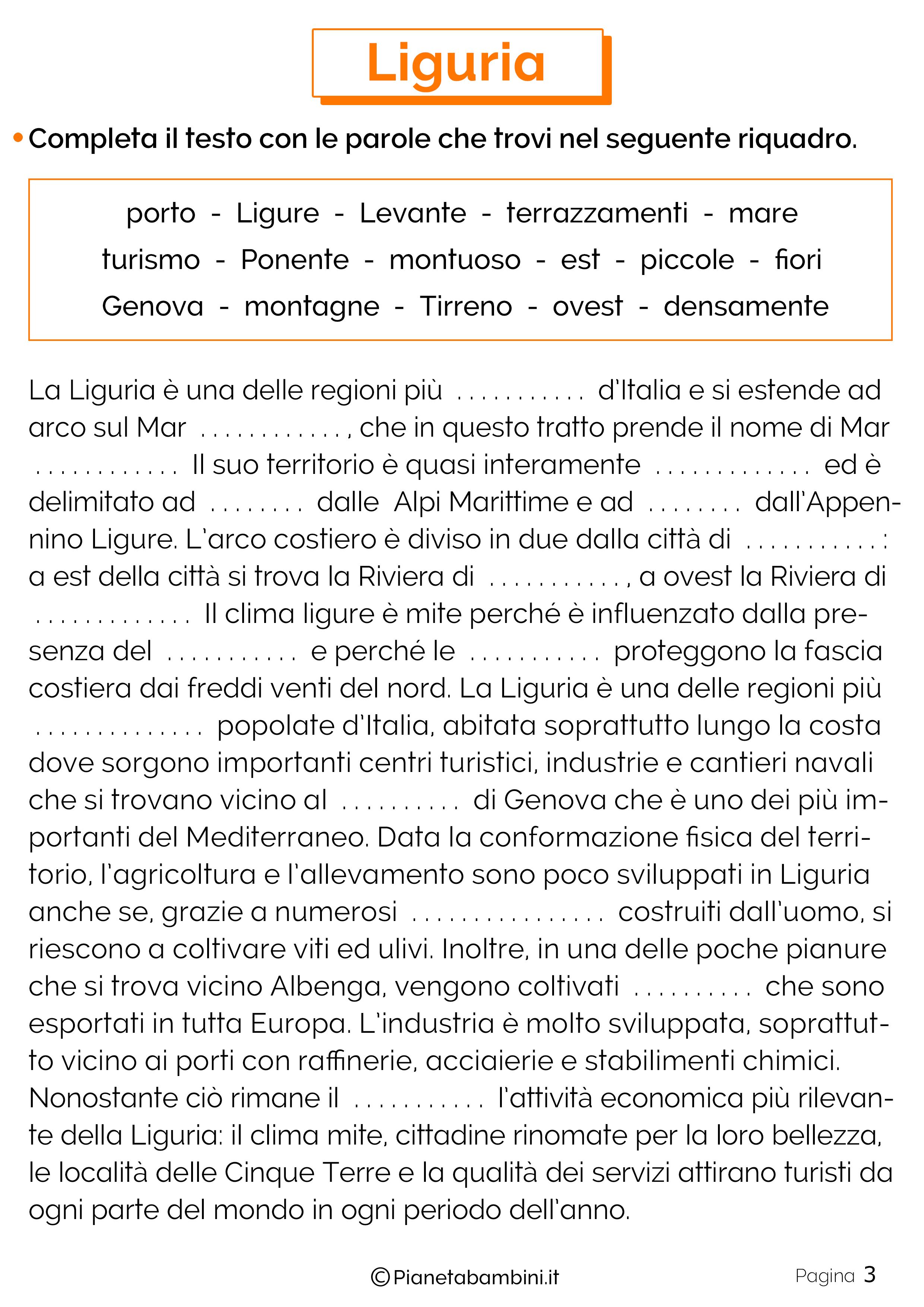Esercizi sulla Liguria 3