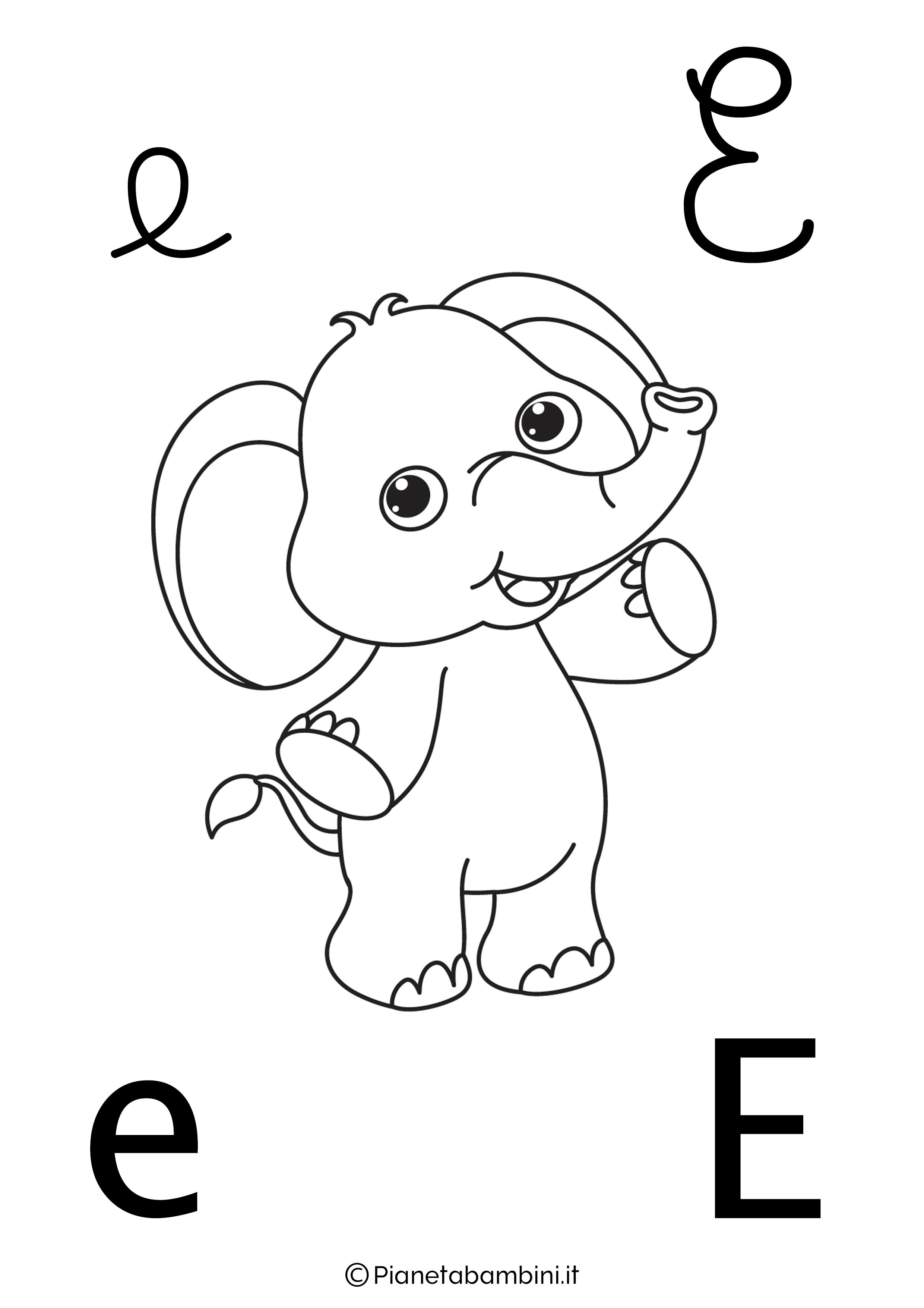 Alfabetiere lettera E da colorare
