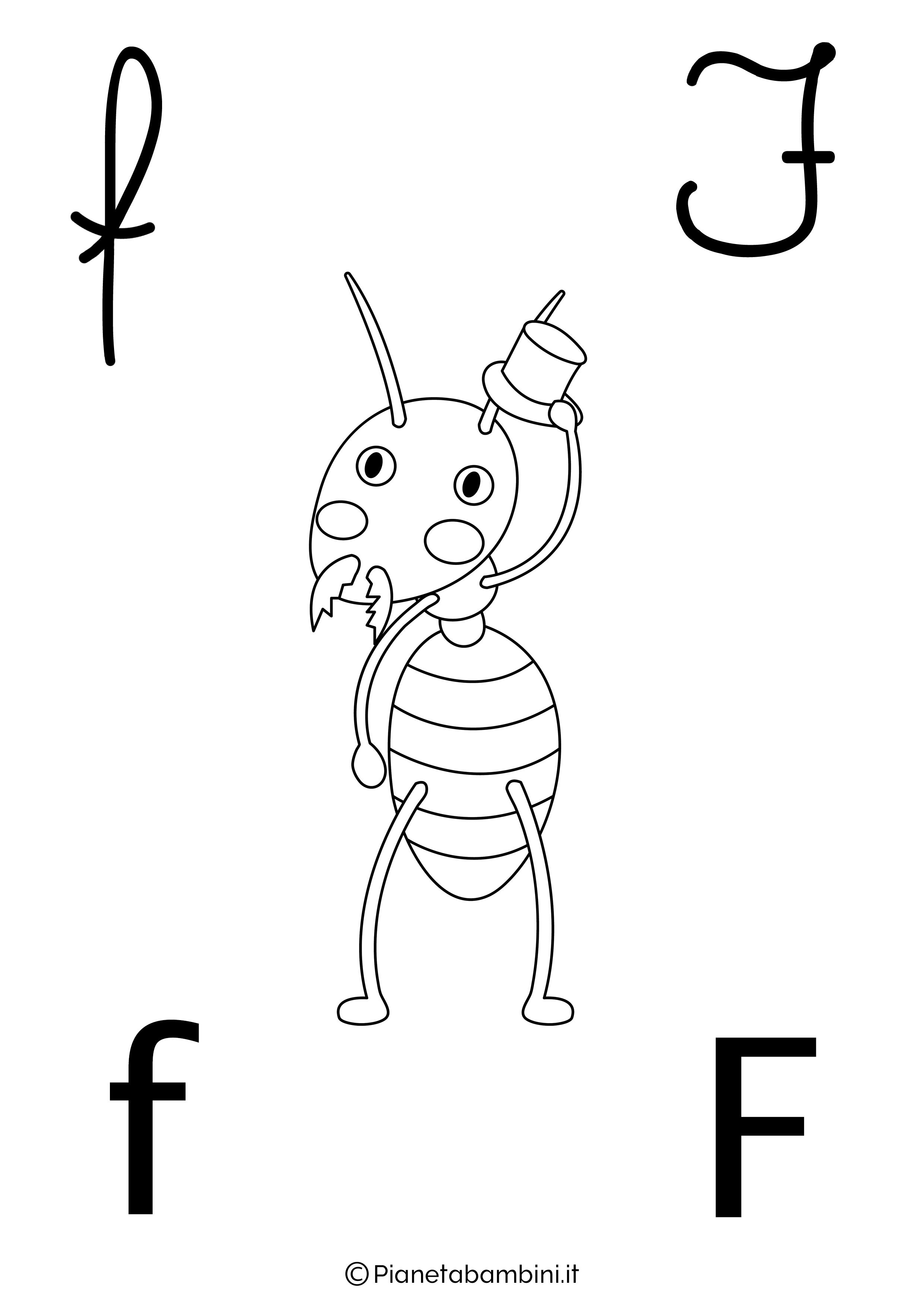 Alfabetiere lettera F da colorare