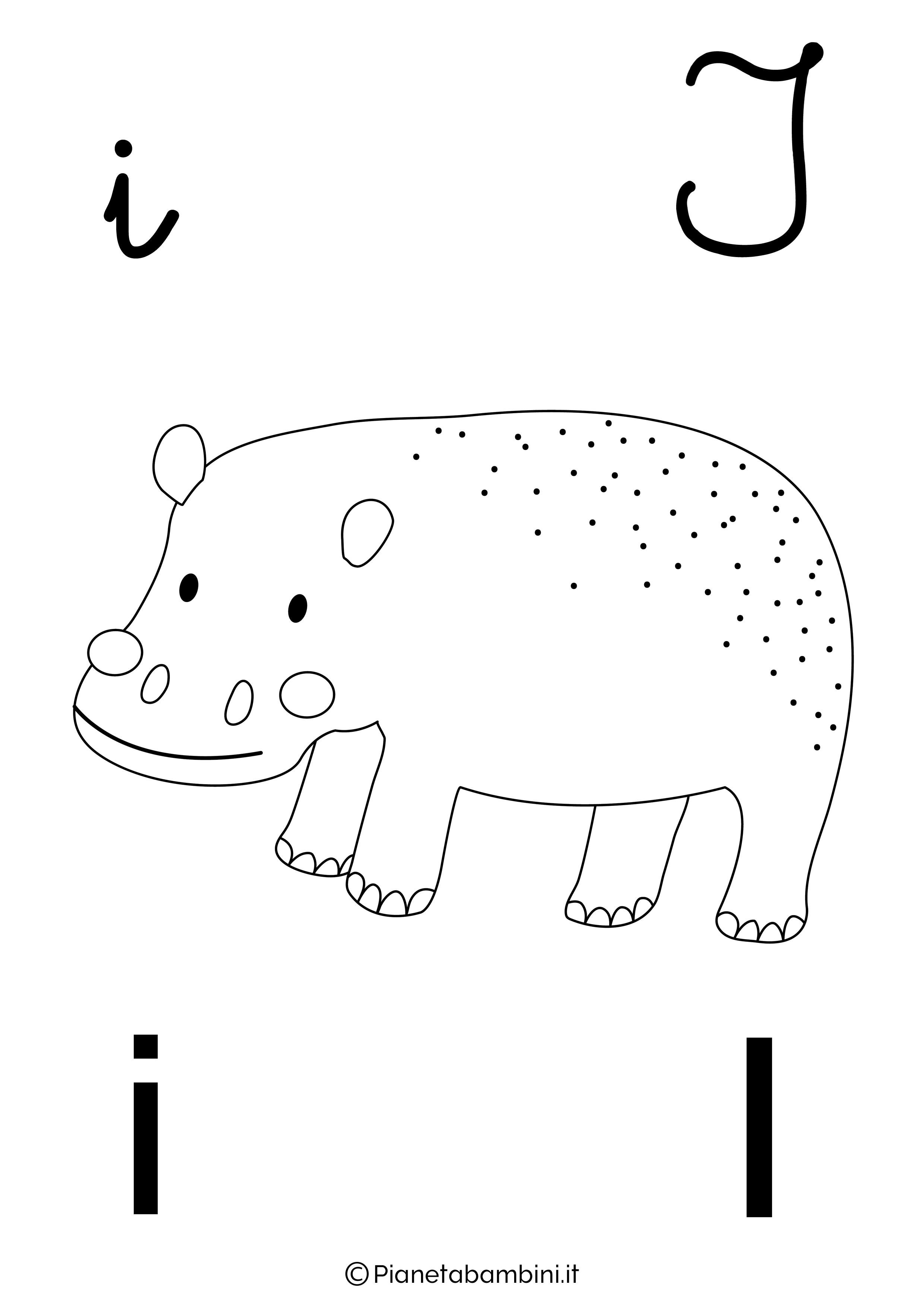 Alfabetiere lettera I da colorare