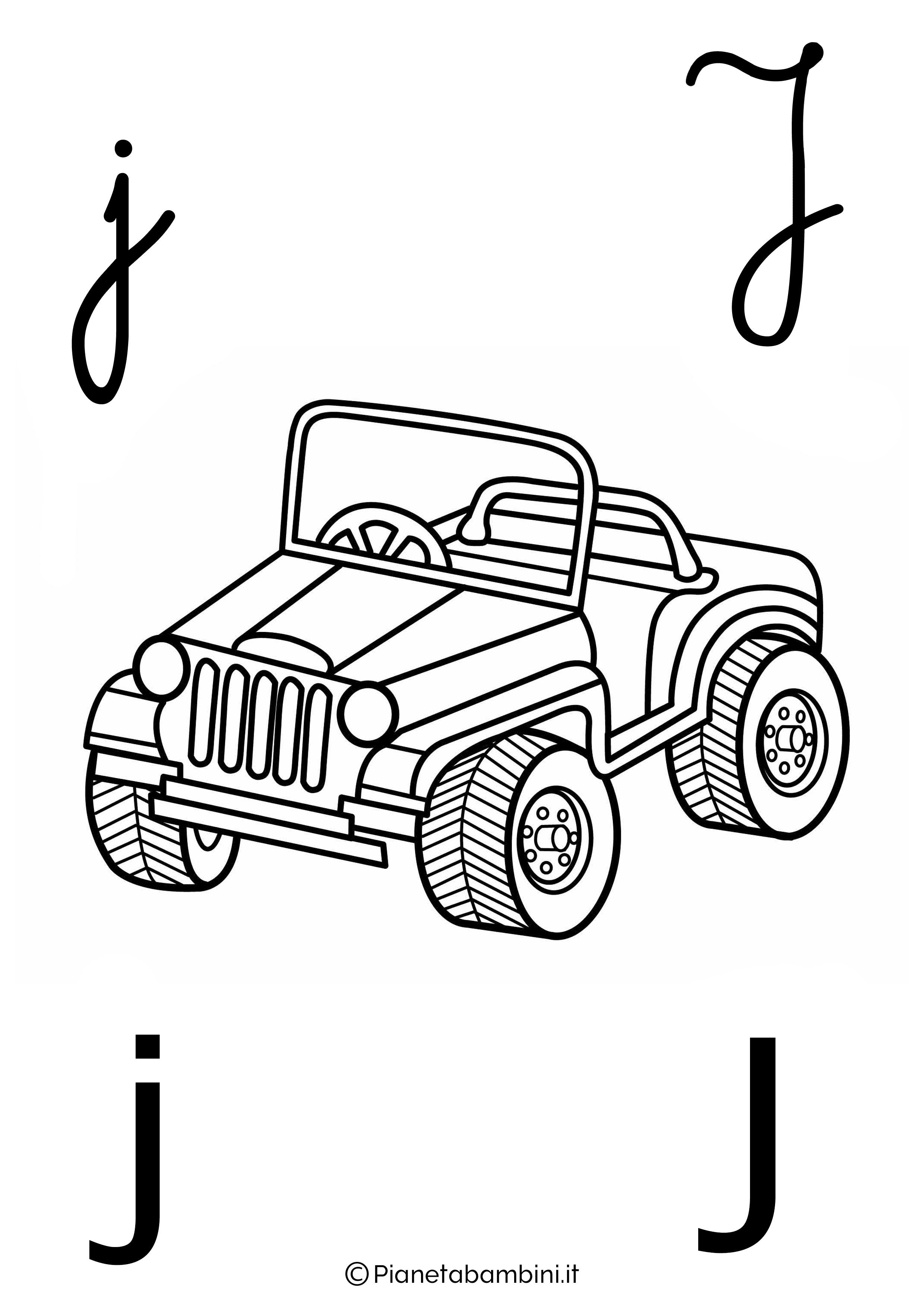 Alfabetiere lettera J da colorare