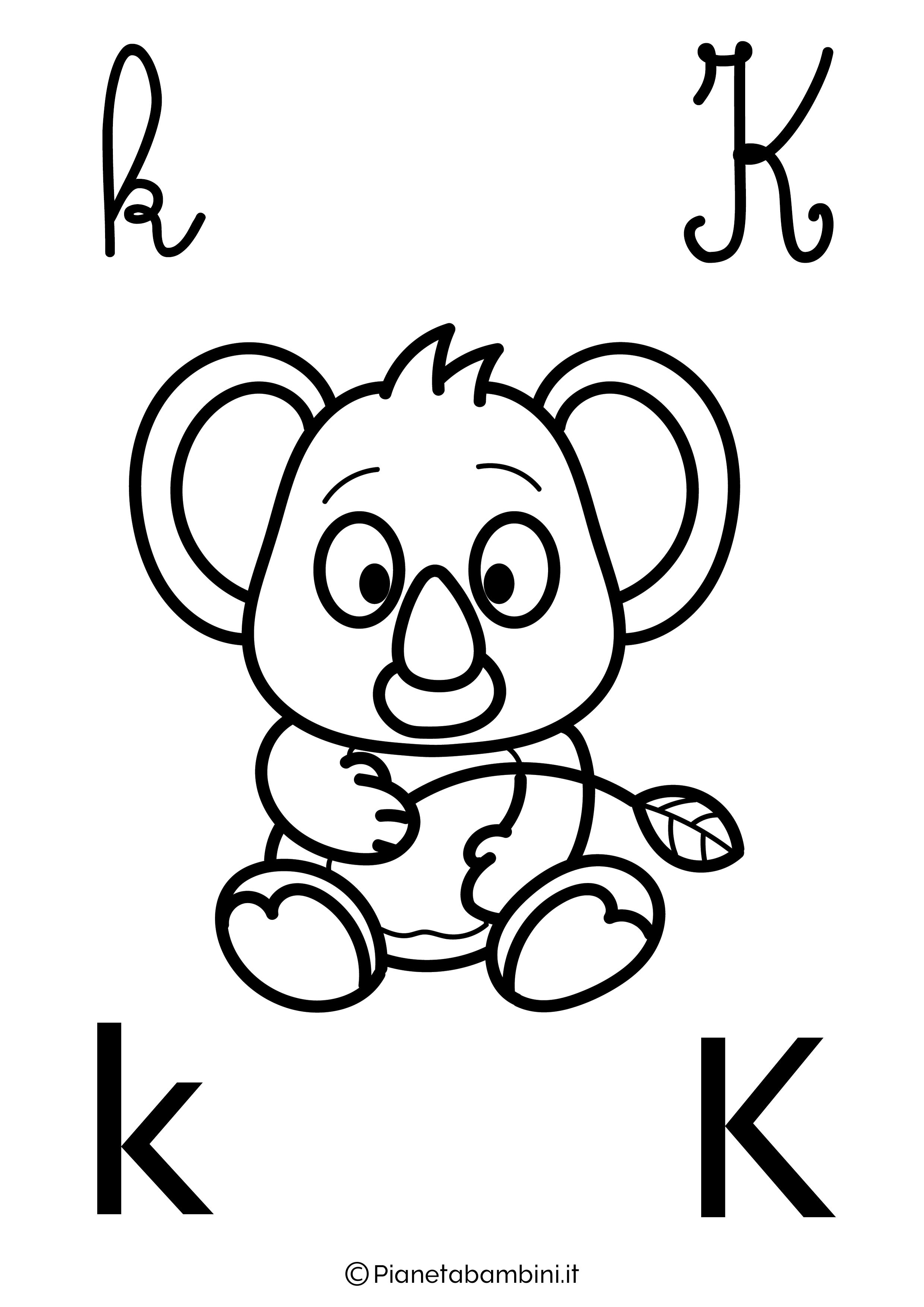 Alfabetiere lettera K da colorare