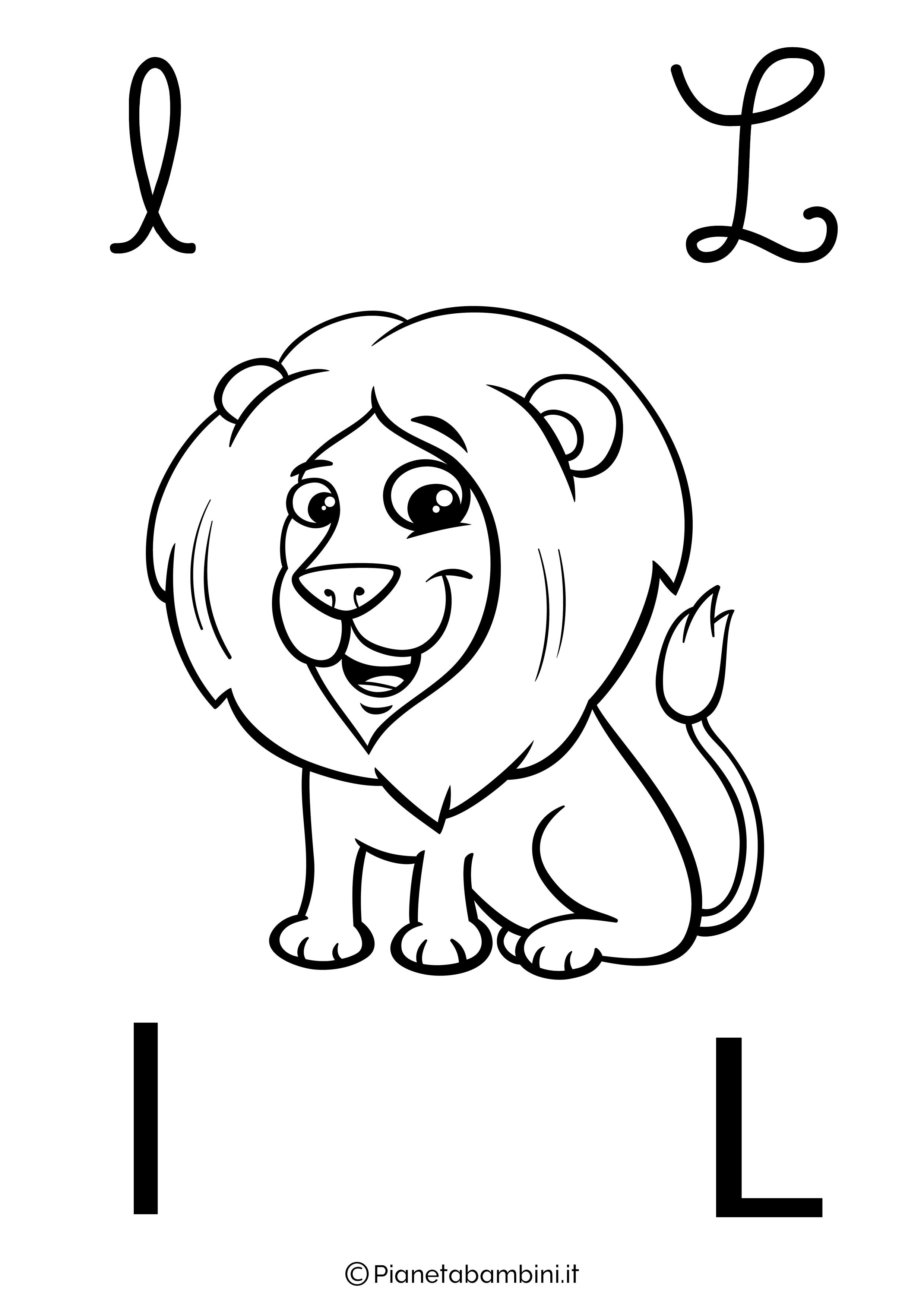 Alfabetiere lettera L da colorare