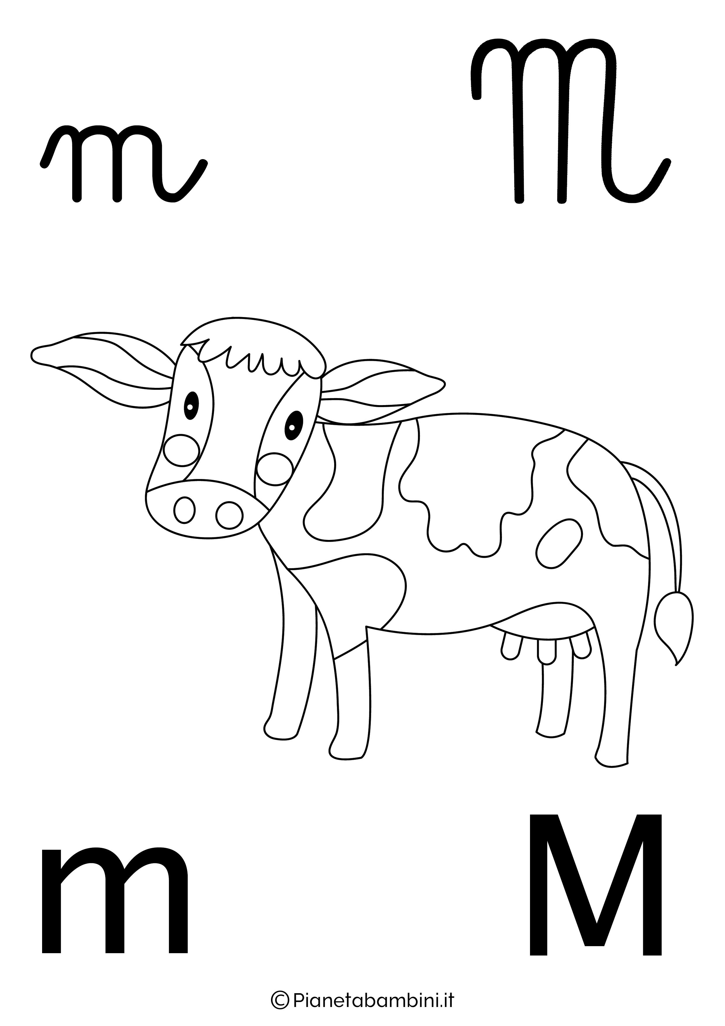 Alfabetiere lettera M da colorare
