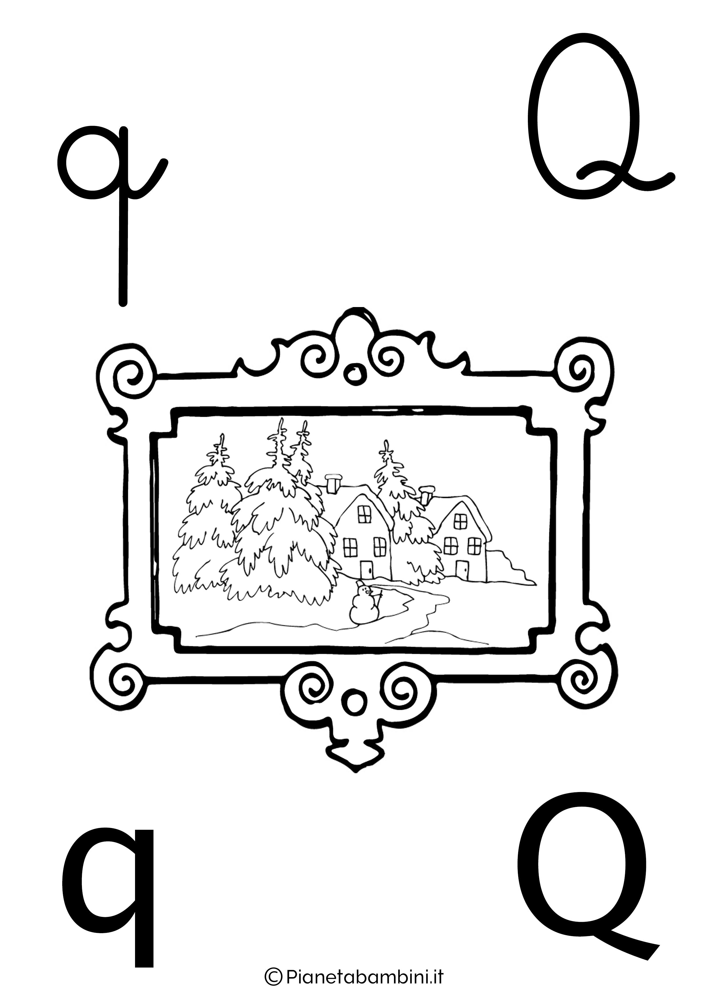 Alfabetiere lettera Q da colorare