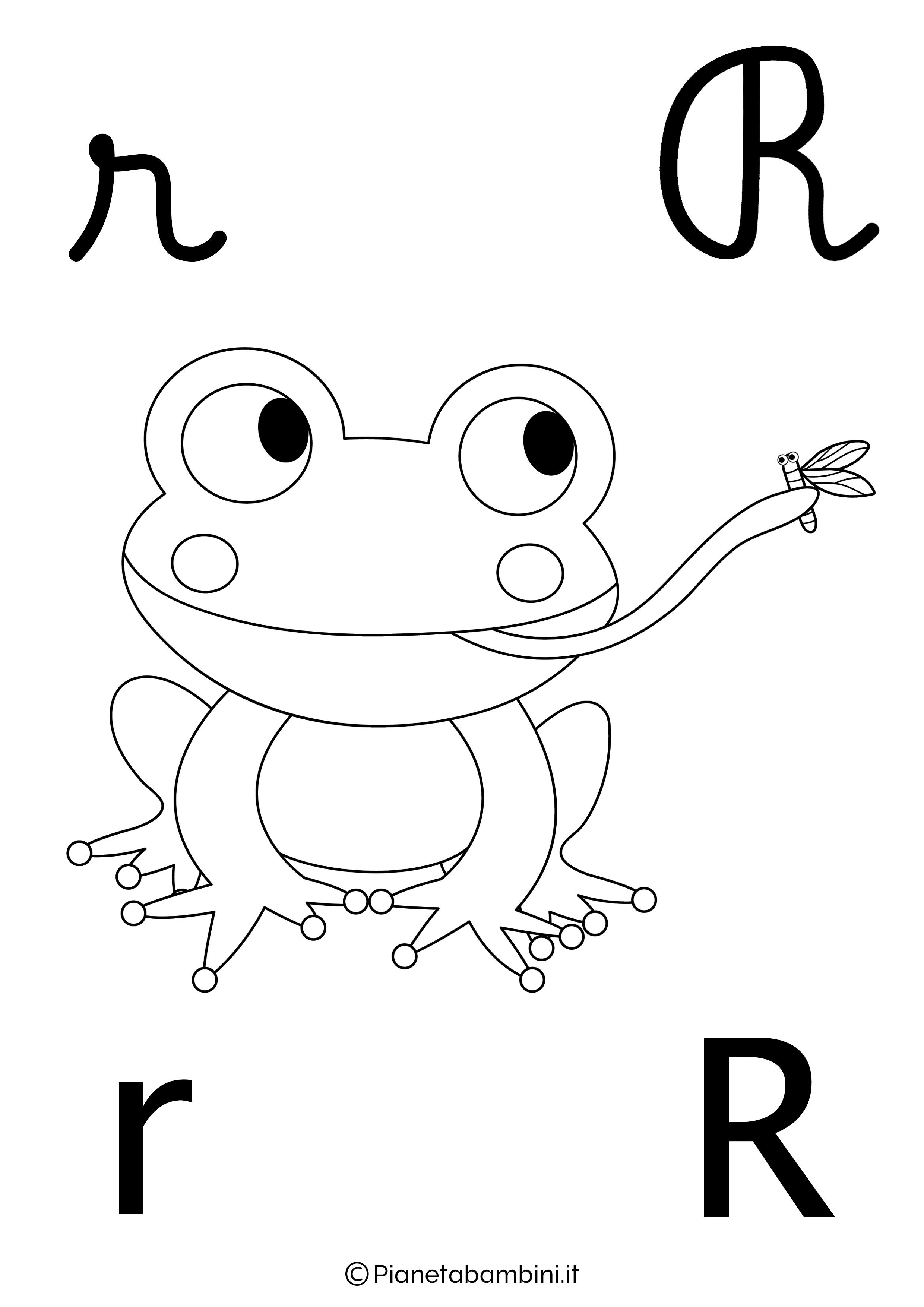 Alfabetiere lettera R da colorare