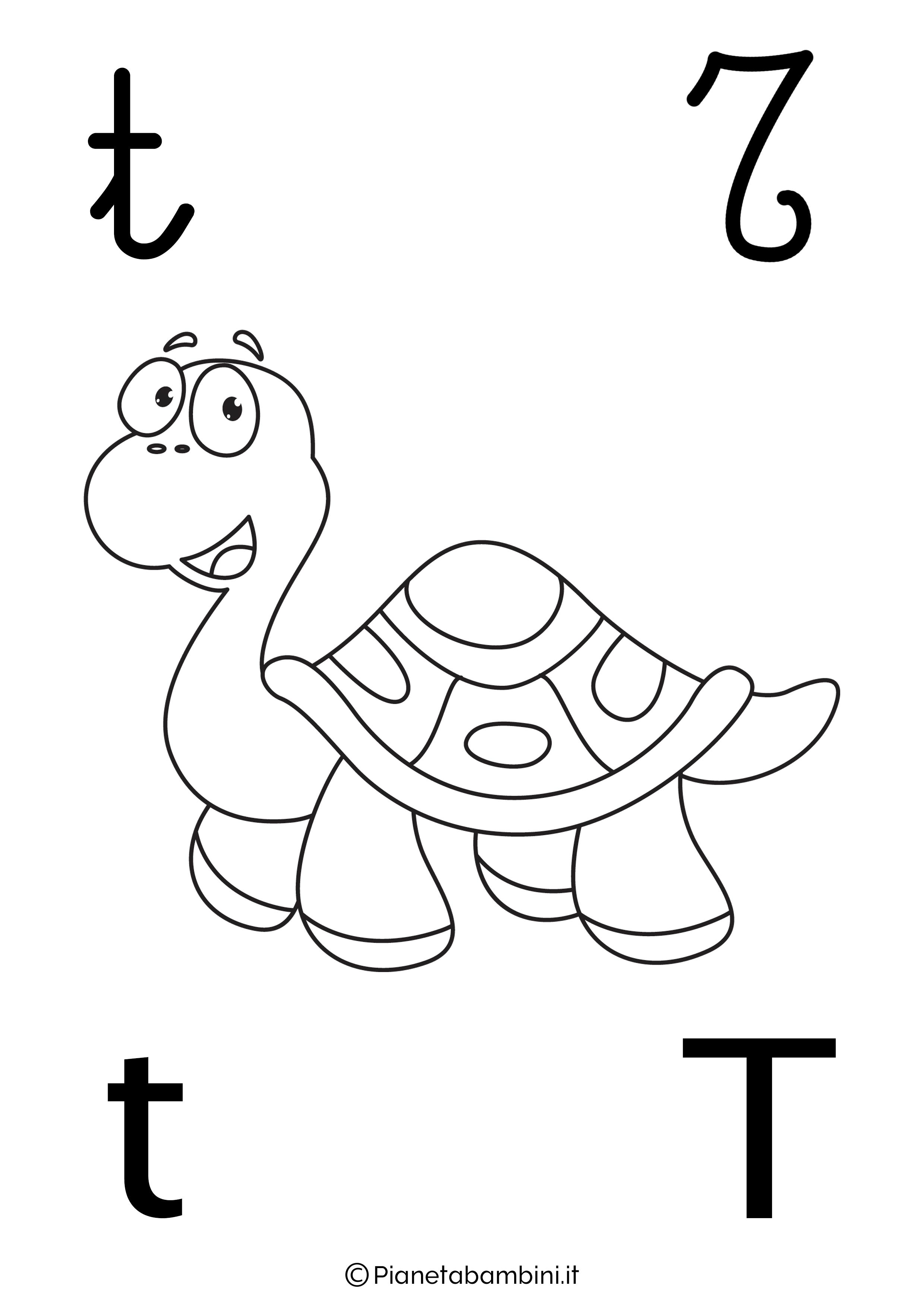 Alfabetiere lettera T da colorare