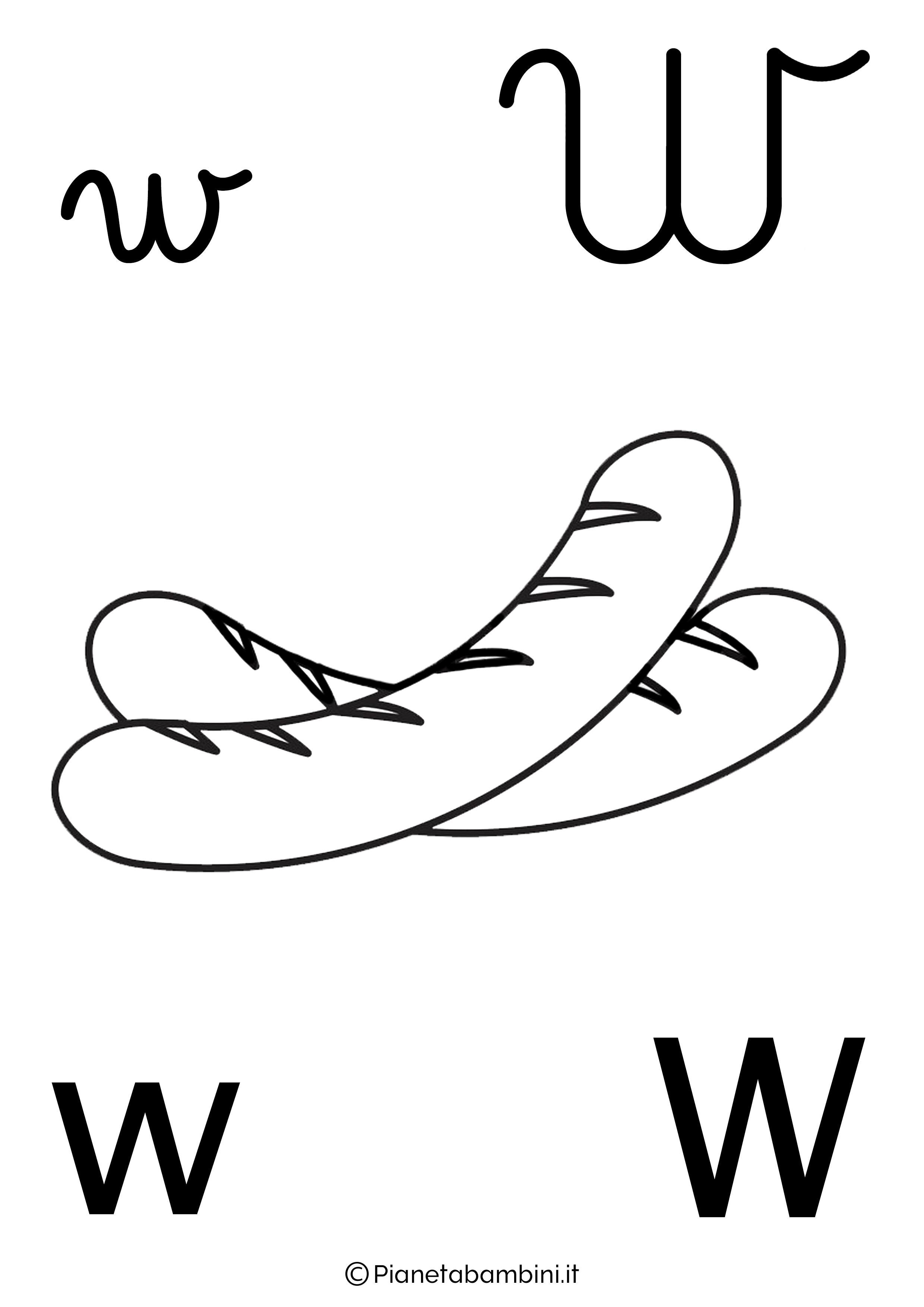 Alfabetiere lettera W da colorare