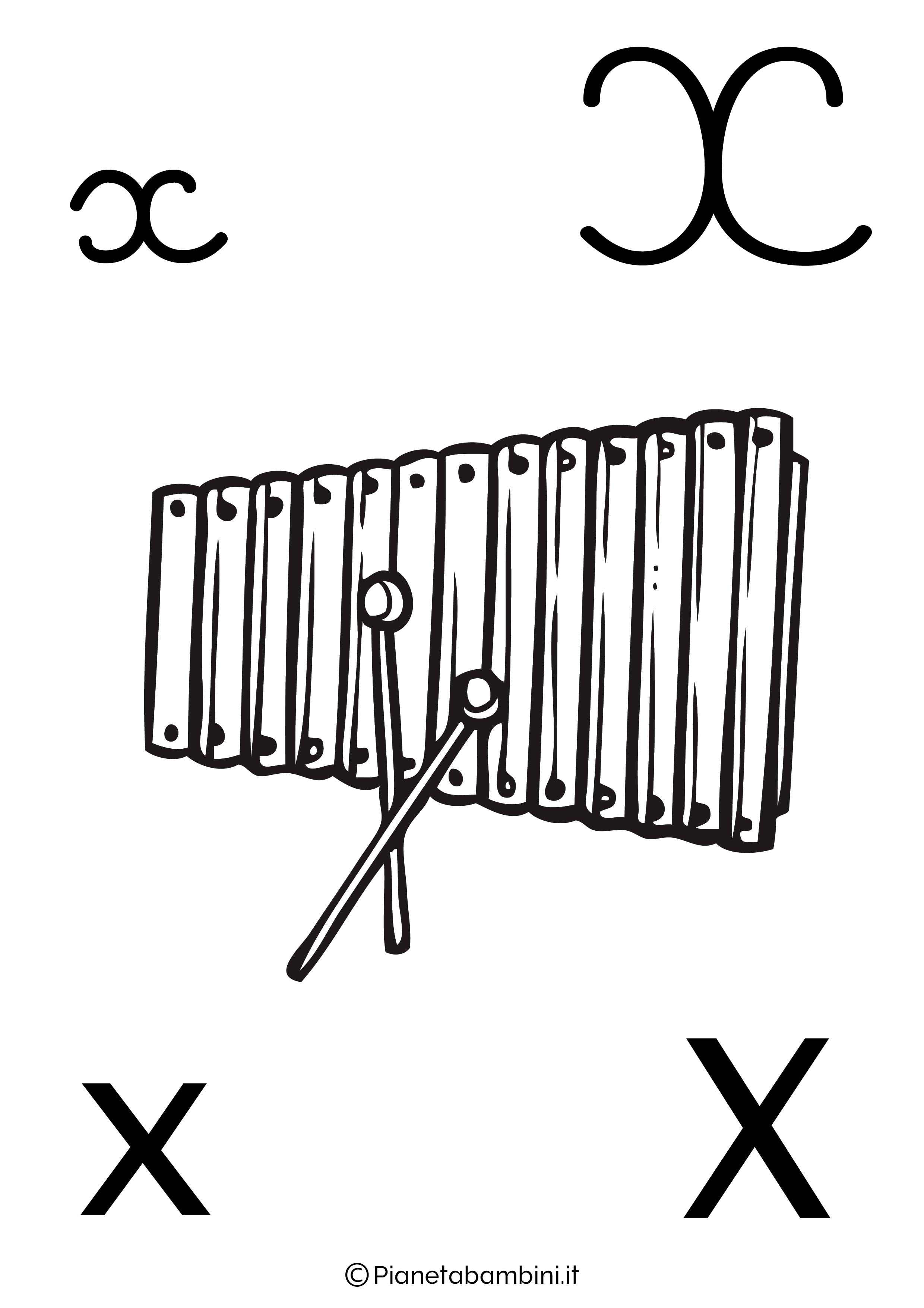 Alfabetiere lettera X da colorare