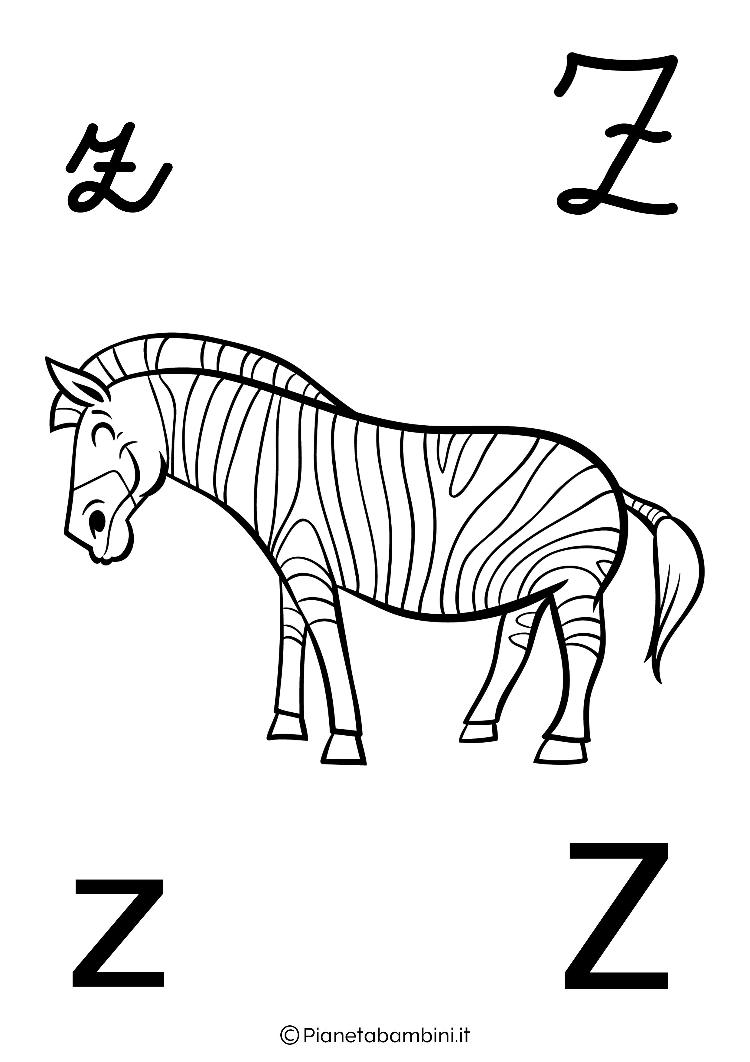 Alfabetiere lettera Z da colorare