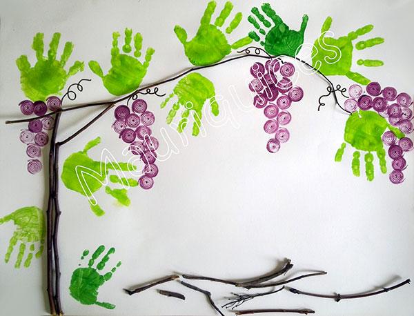 Lavoretto d'autunno vite con impronte delle mani