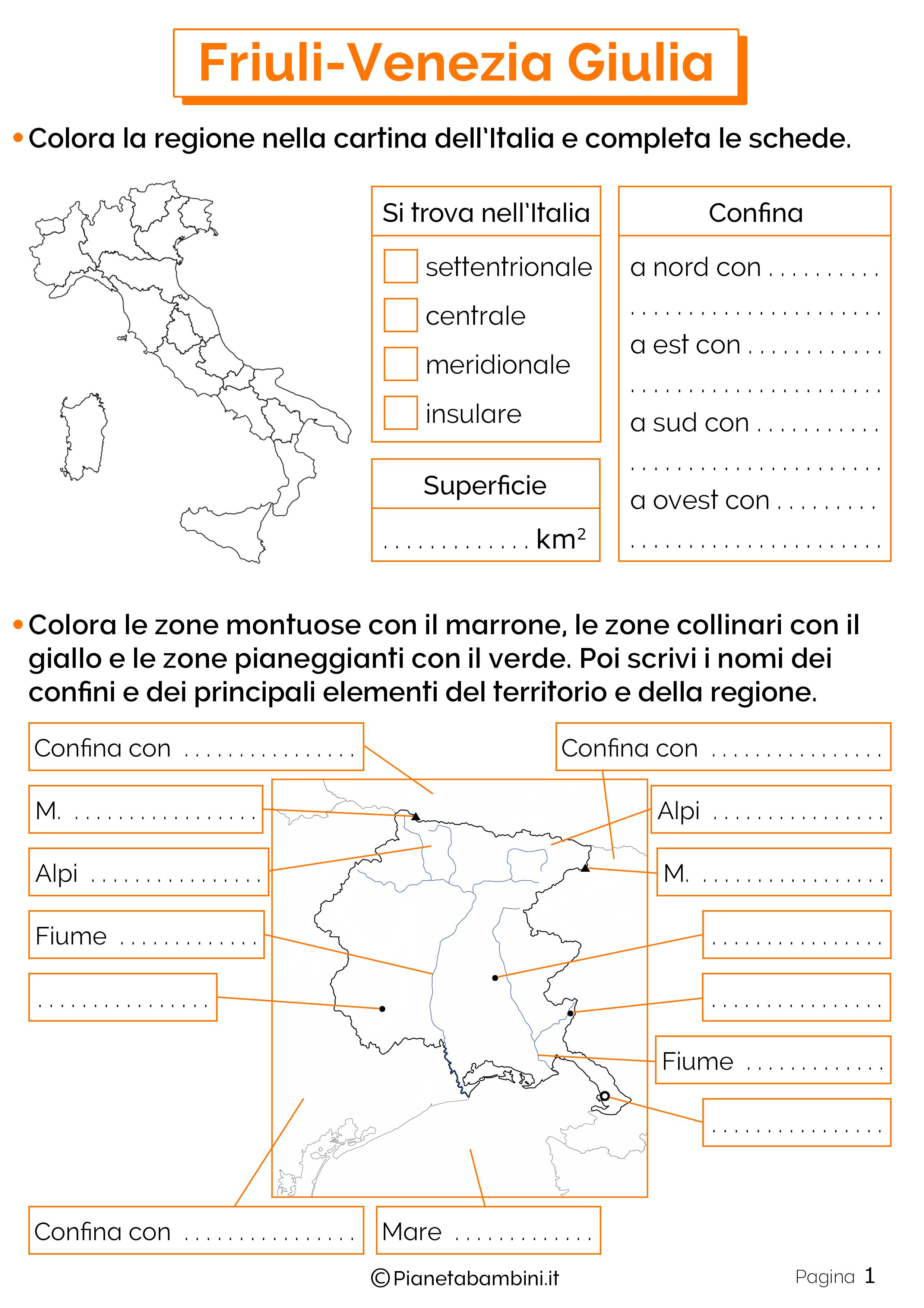 Esercizi sul Friuli-Venezia Giulia 1