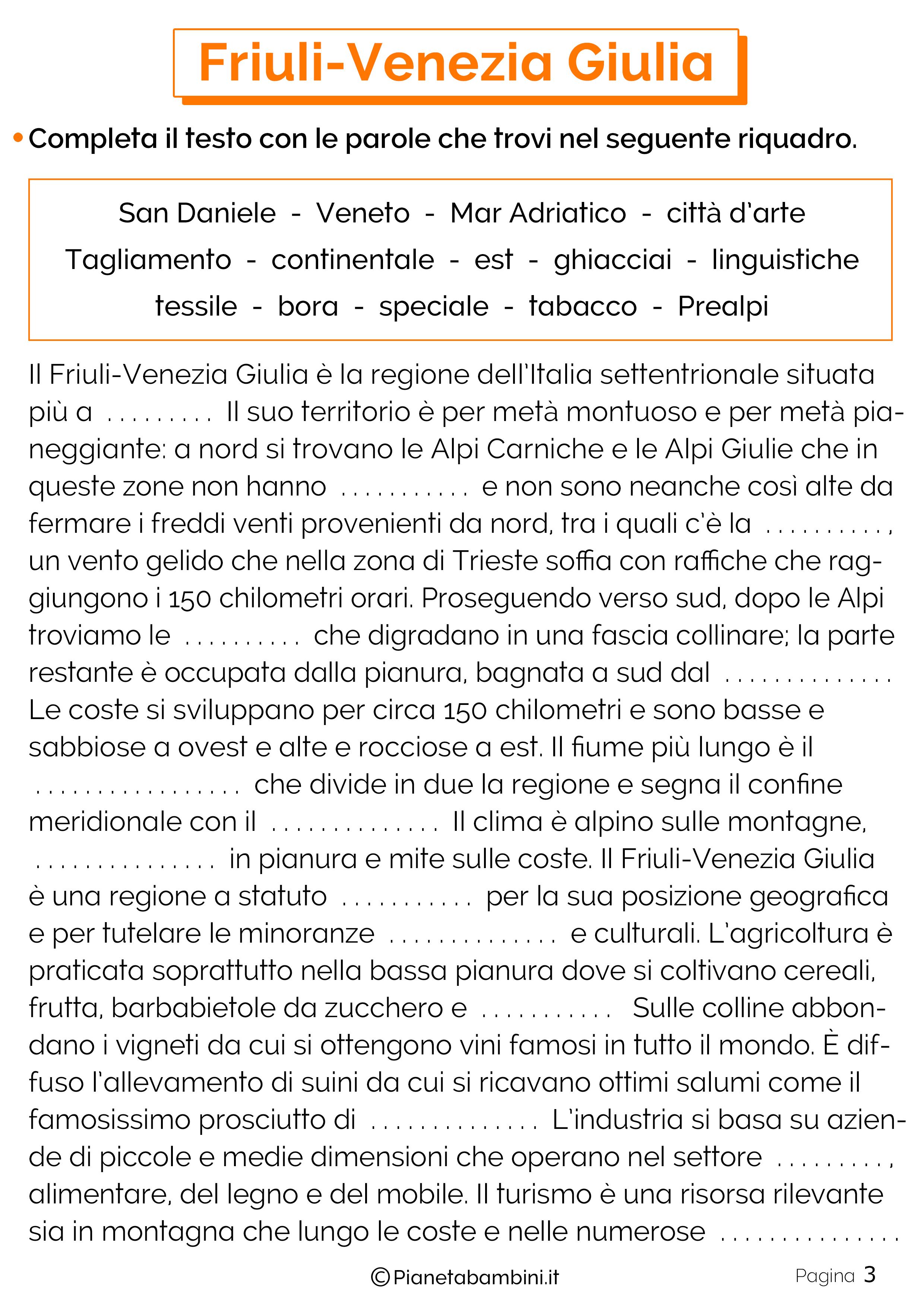 Esercizi sul Friuli-Venezia Giulia 3