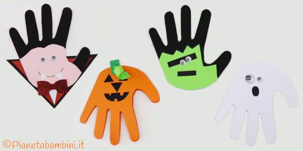 Idee per biglietti di Halloween con impronta della mano