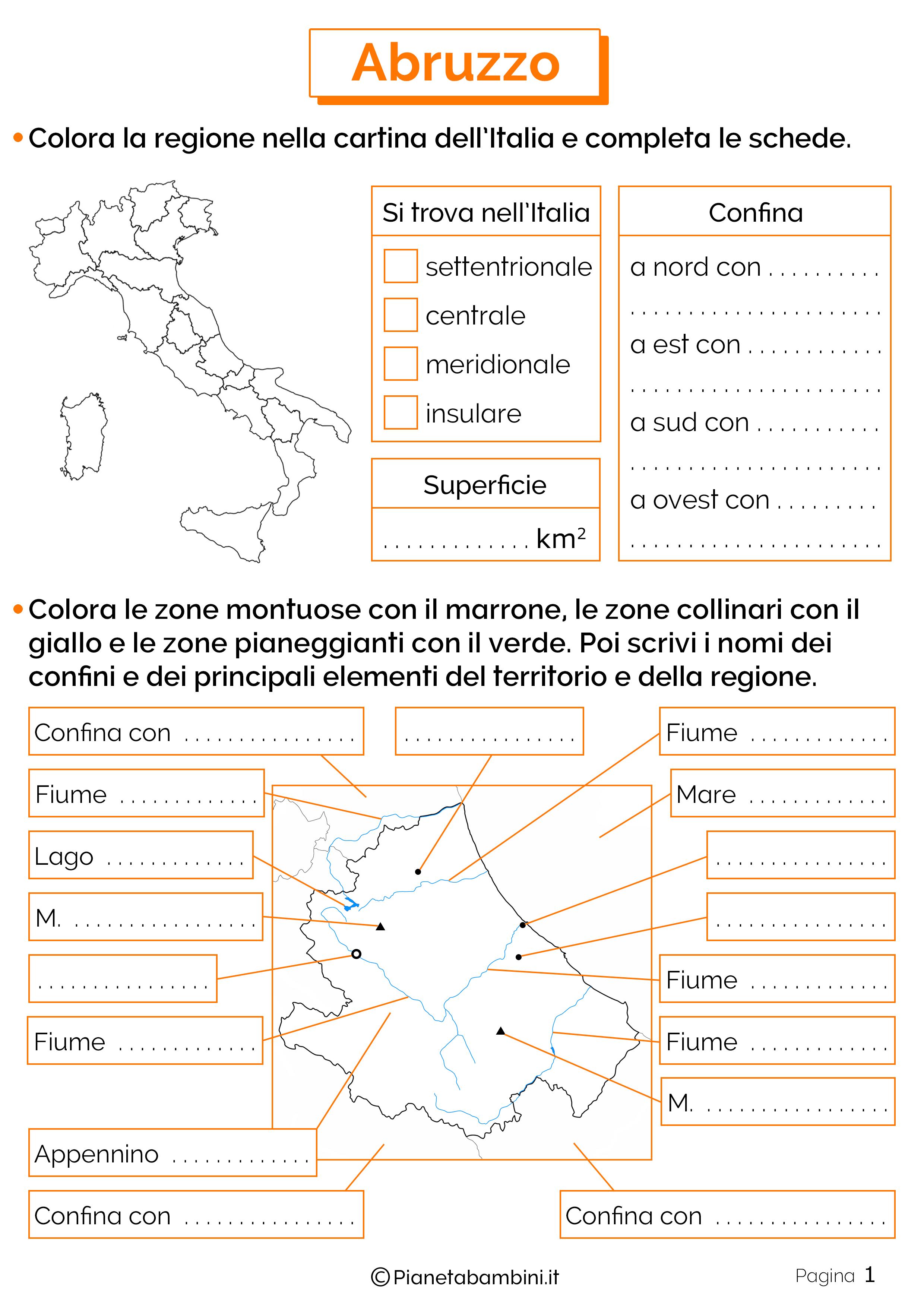 Esercizi sull'Abruzzo 1