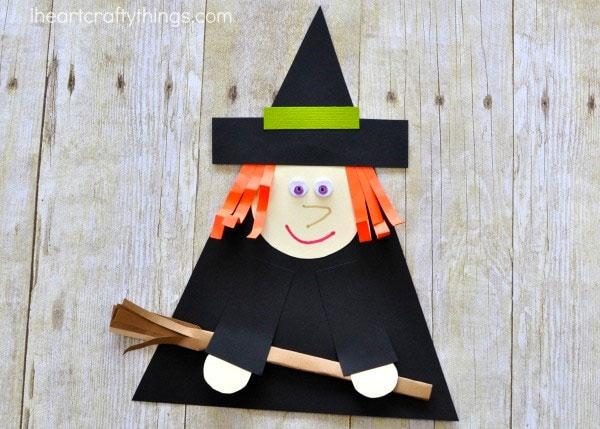 Lavoretto di Halloween strega di cartoncino