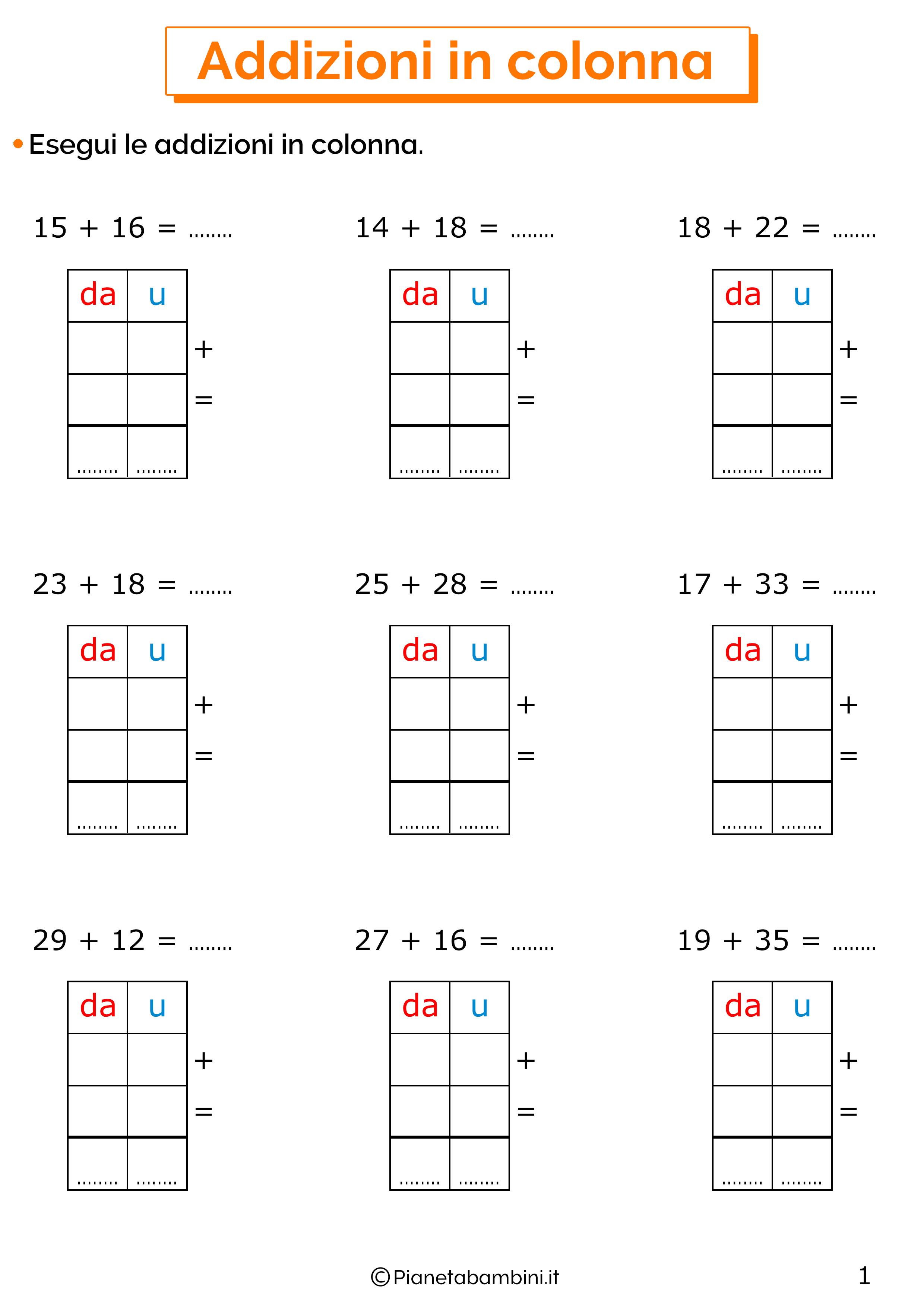 Esercizi sulle addizioni in colonna con il cambio 1